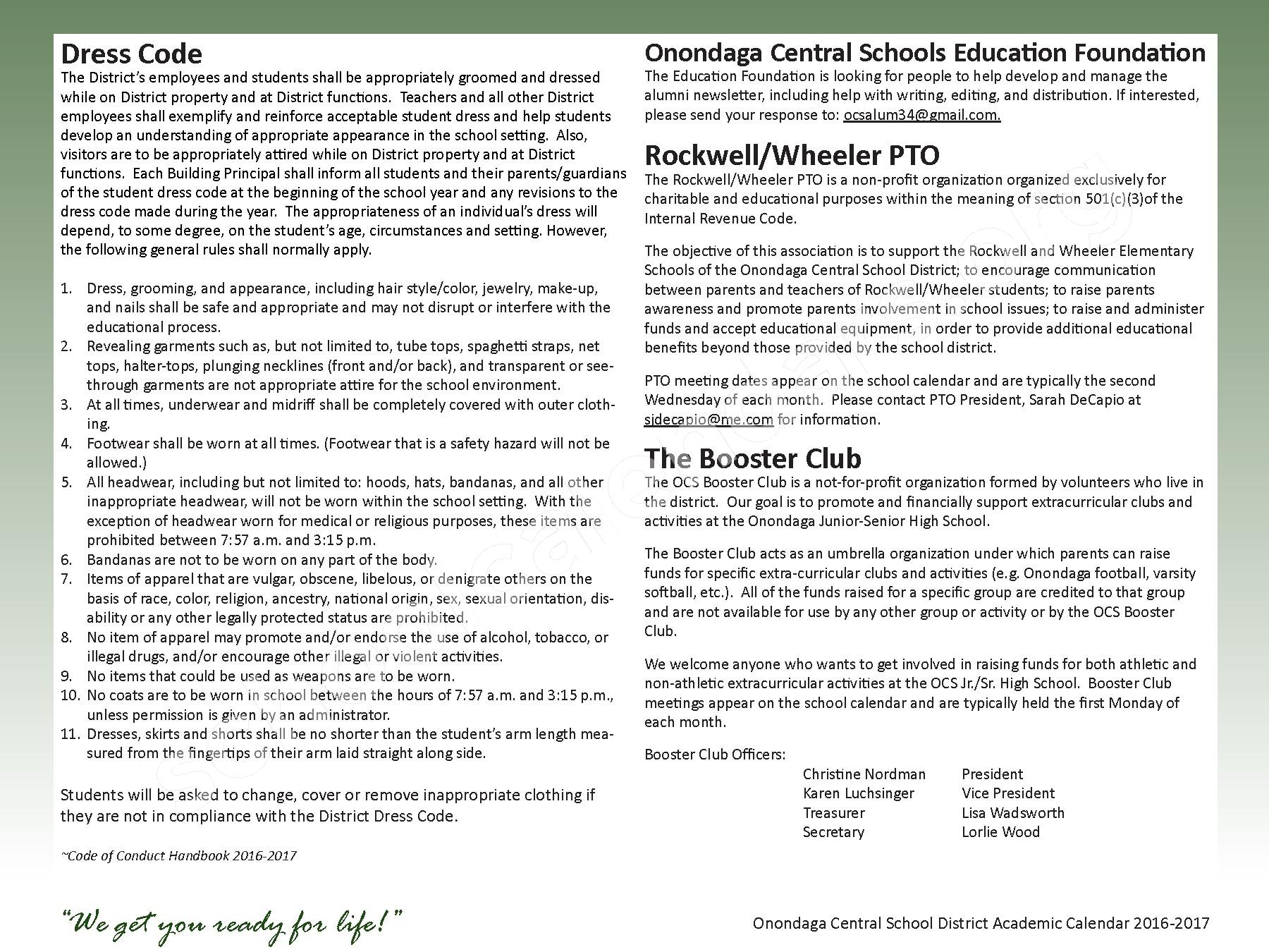 2016 - 2017 School Calendar – Onondaga Central School District – page 18