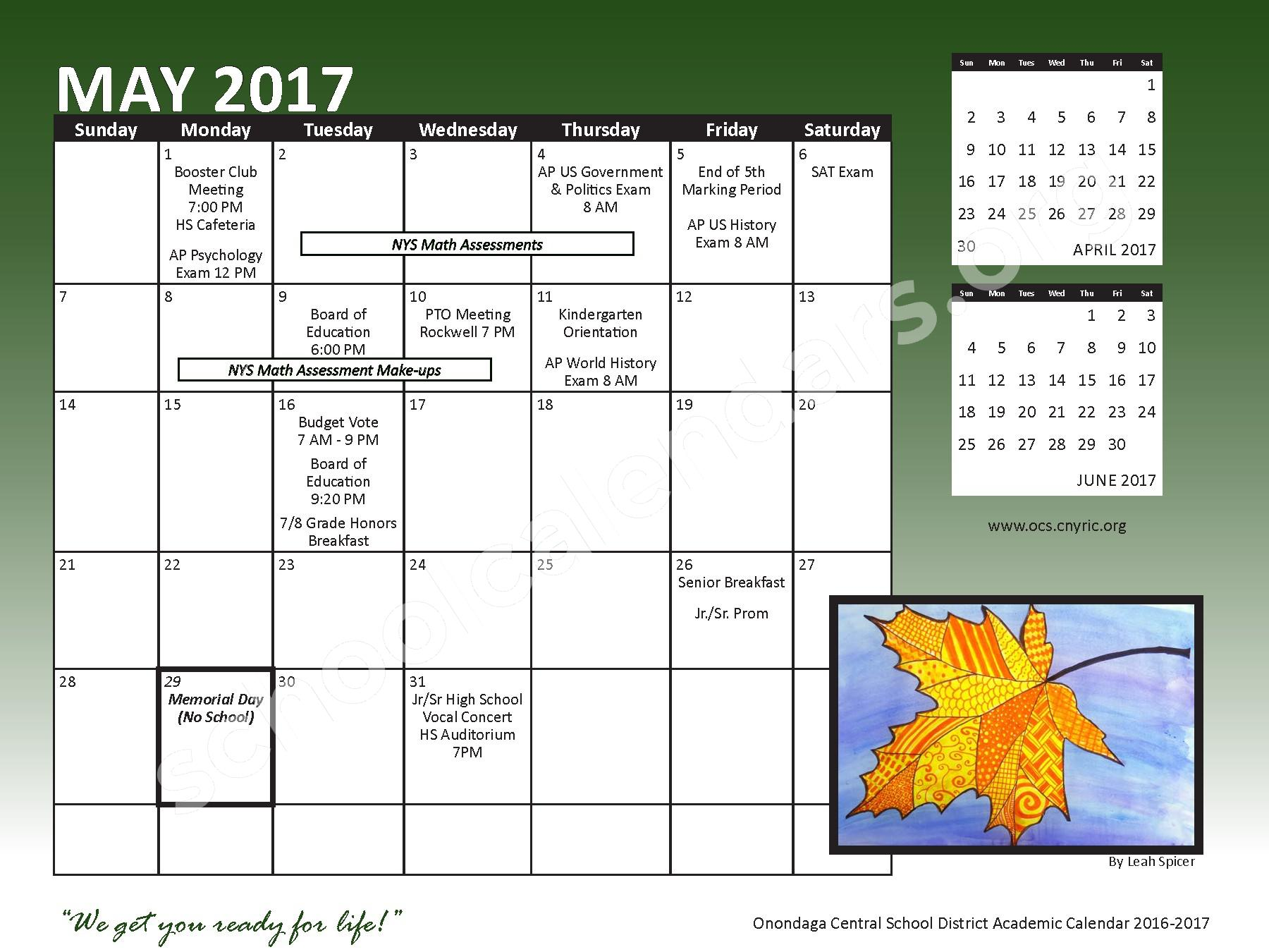 2016 - 2017 School Calendar – Onondaga Central School District – page 21