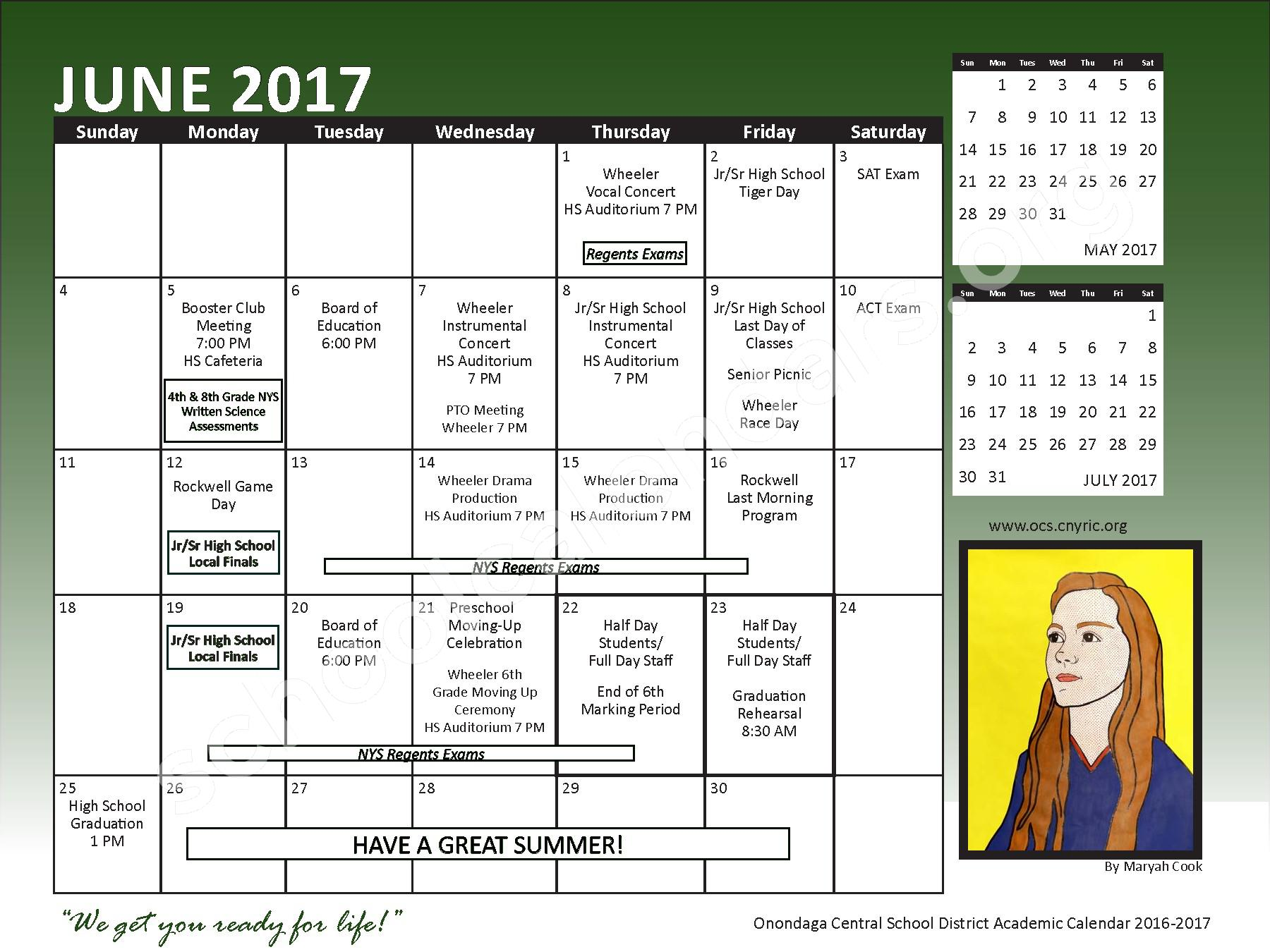 2016 - 2017 School Calendar – Onondaga Central School District – page 23