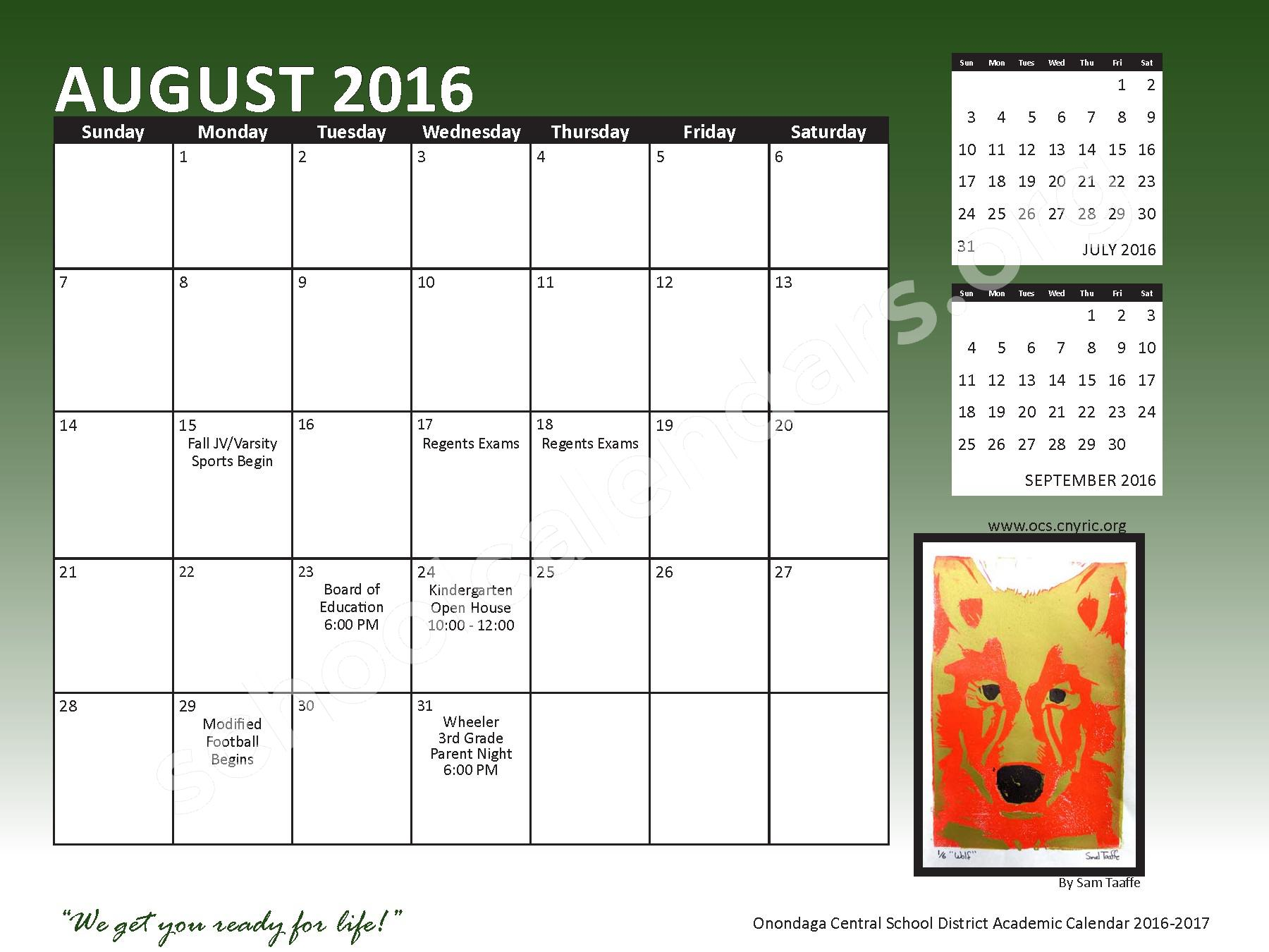 2016 - 2017 School Calendar – Onondaga Central School District – page 3