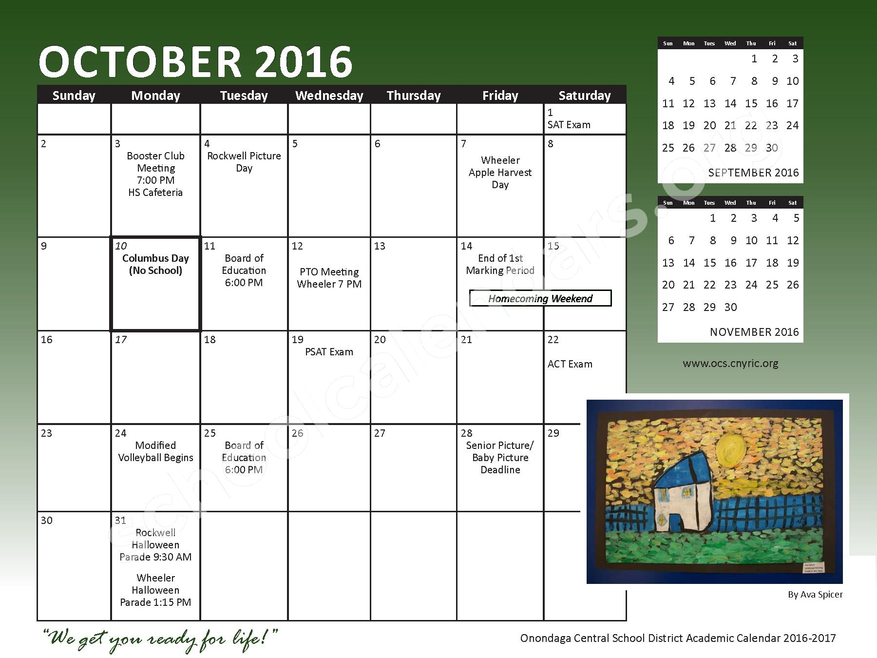 2016 - 2017 School Calendar – Onondaga Central School District – page 7