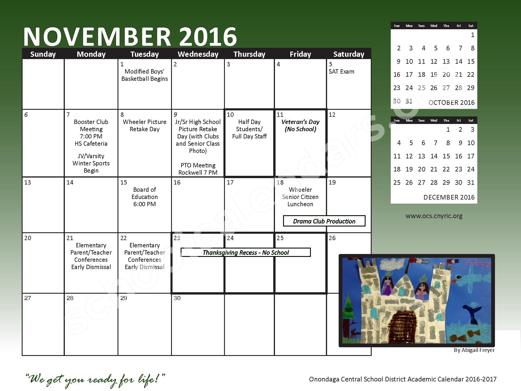 2016 - 2017 School Calendar – Onondaga Central School District – page 9