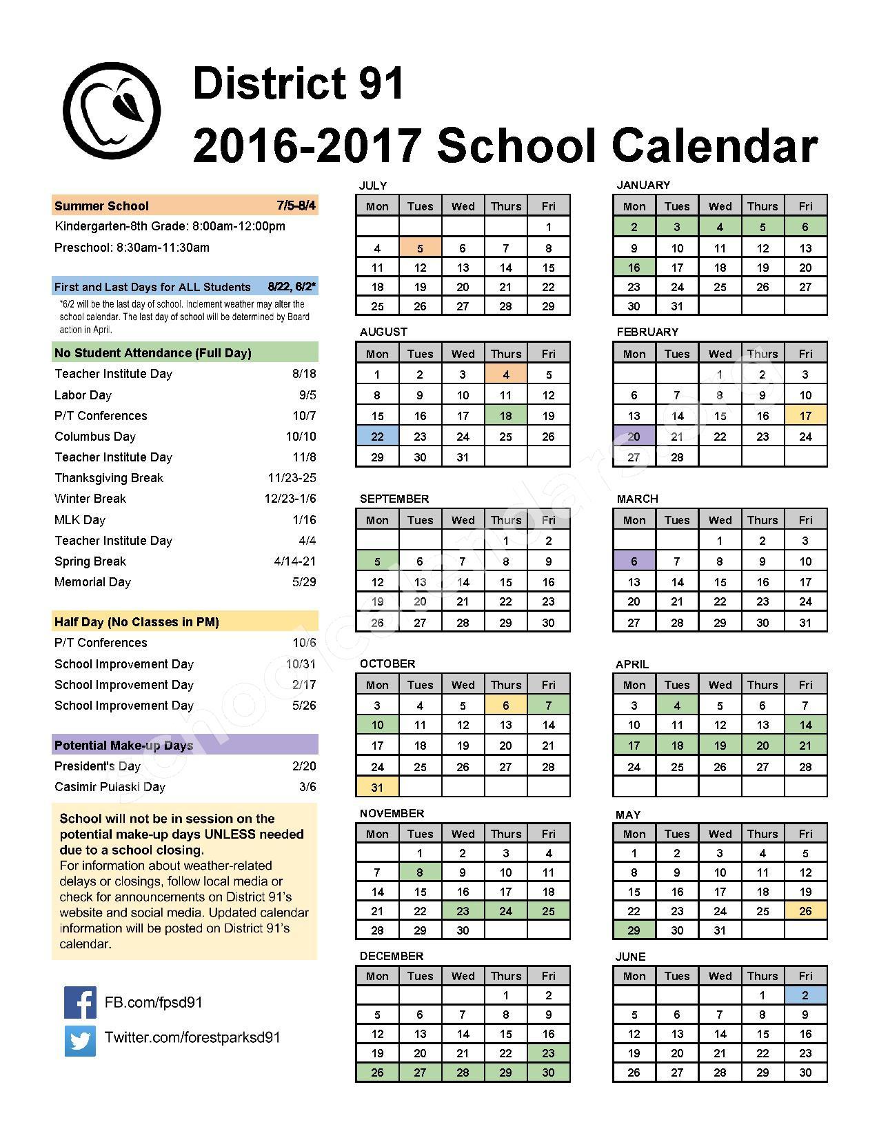 2016 - 2017 School Calendar – Betsy Ross Elementary School – page 1