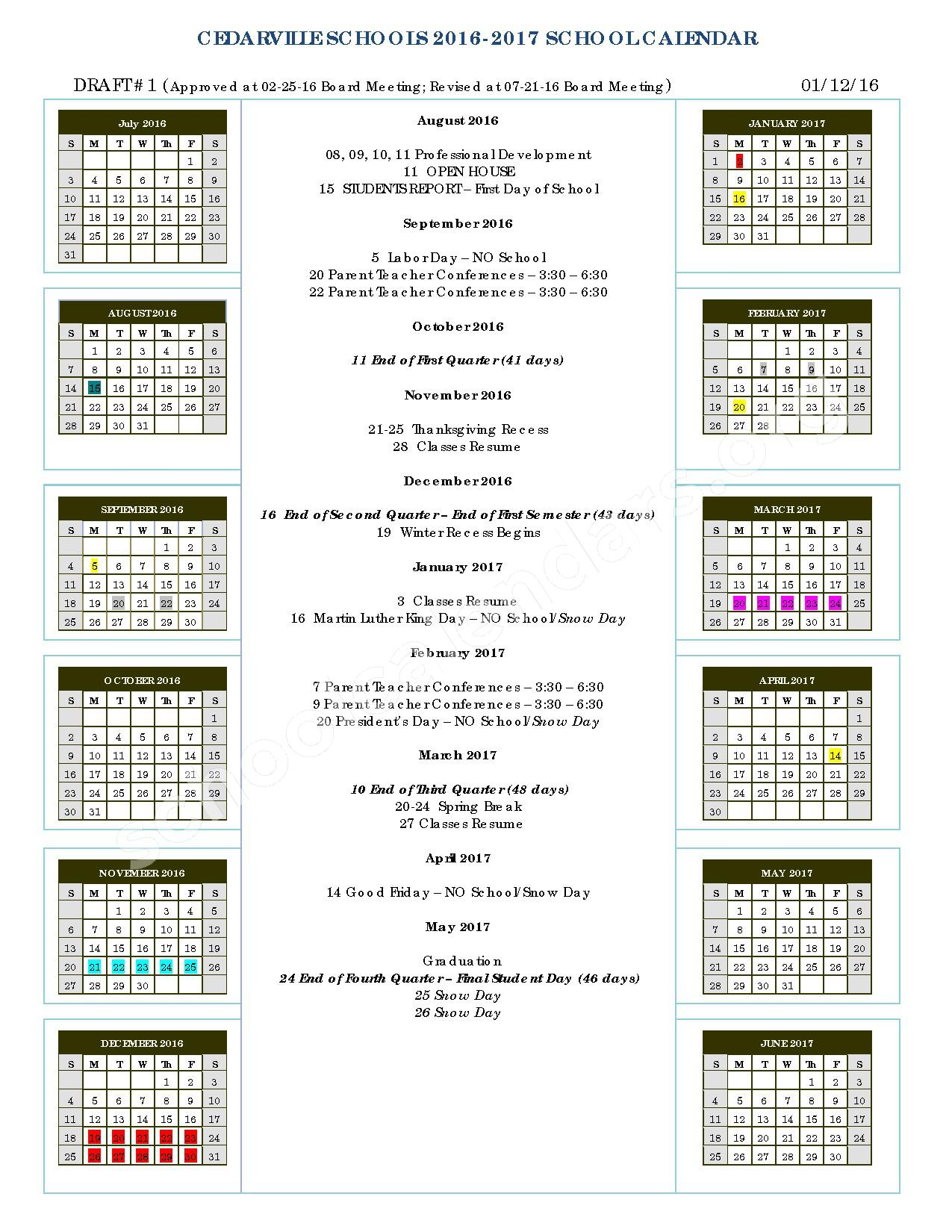 2016 - 2017 School Calendar – Cedarville School District – page 1