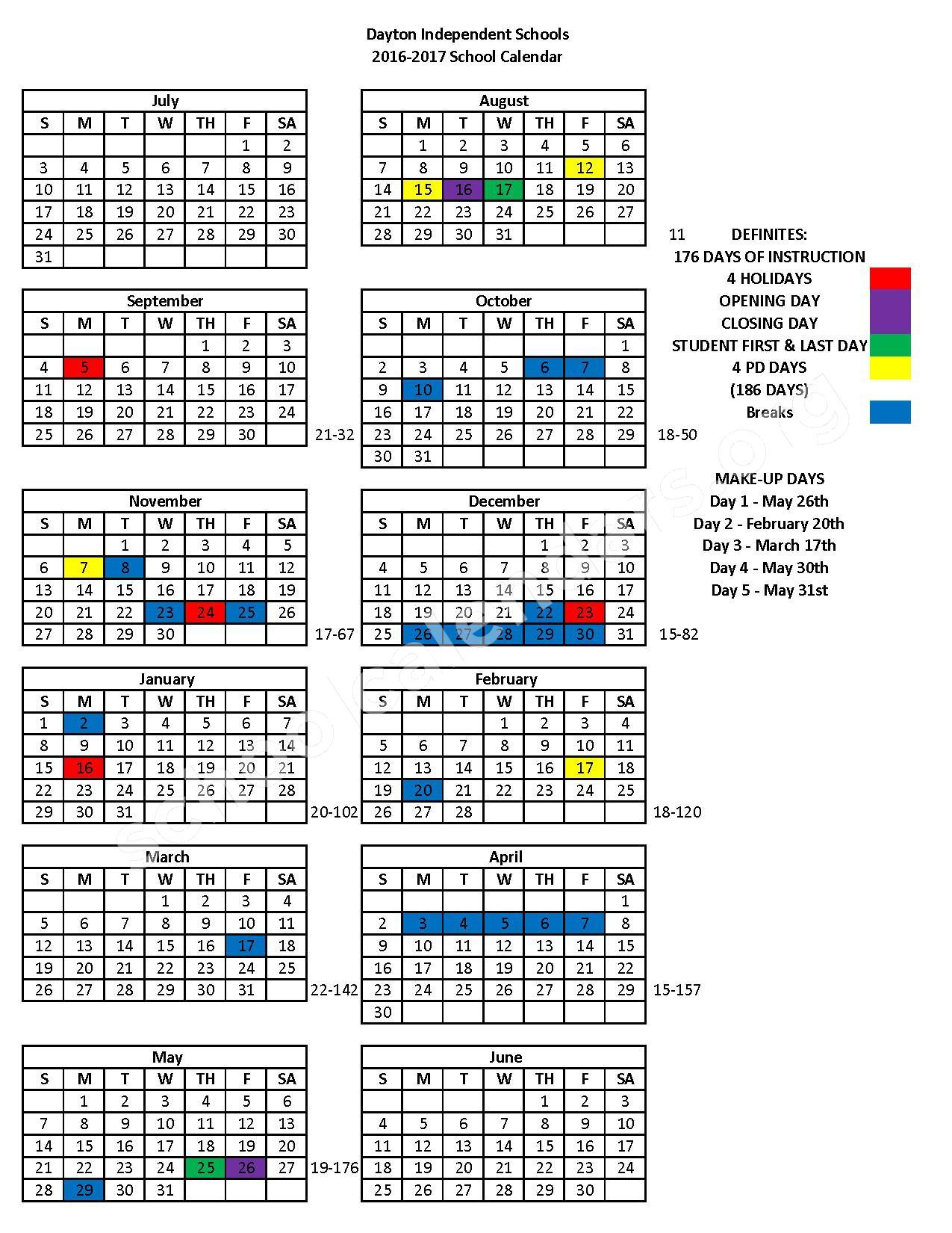 2016 - 2017 School Calendar – Lincoln Elementary School – page 1