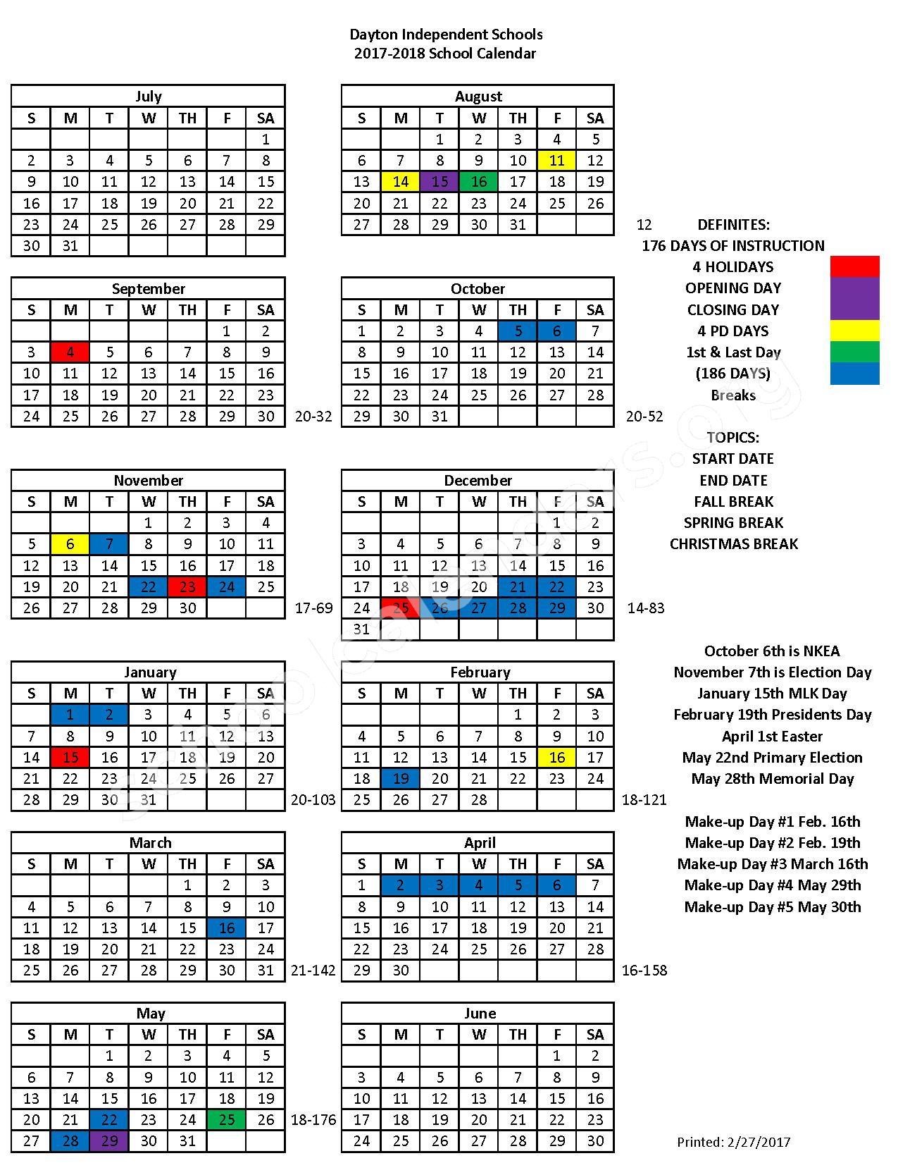 2017 - 2018 School Calendar – Lincoln Elementary School – page 1