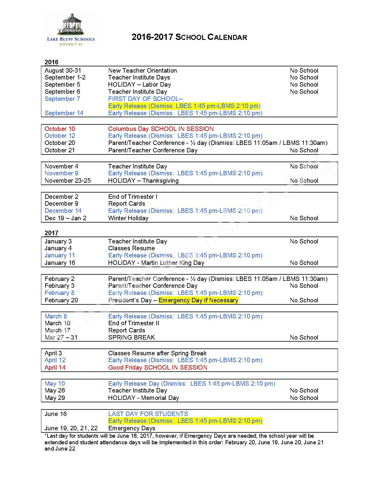 2016 - 2017 School Calendar – Lake Bluff Elementary School District 65 – page 1