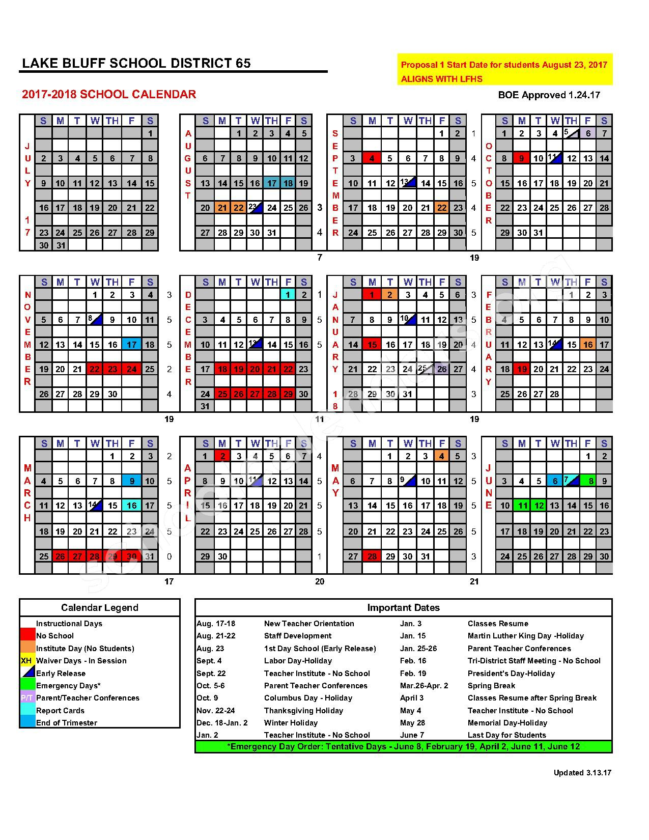 2017 - 2018 School Calendar – Lake Bluff Elementary School District 65 – page 1