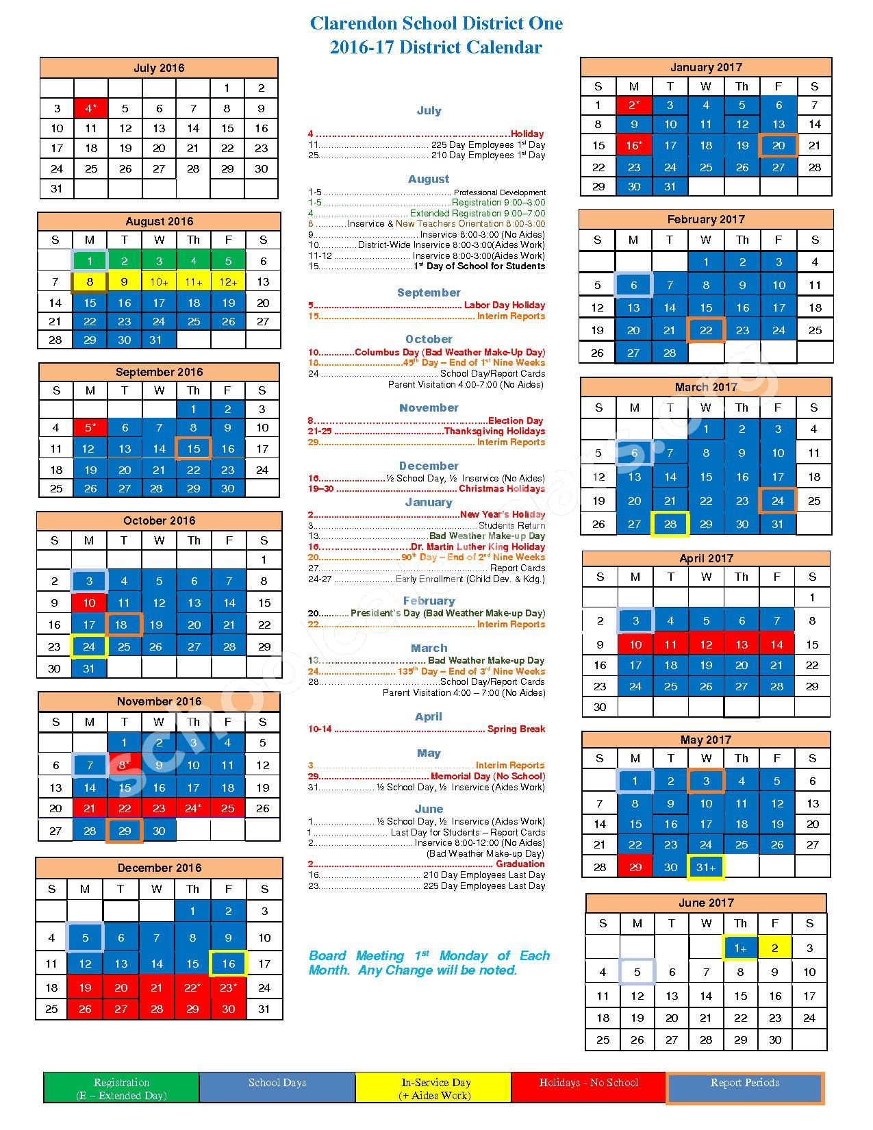 2016 - 2017 District Calendar – Clarendon School District 1 – page 1