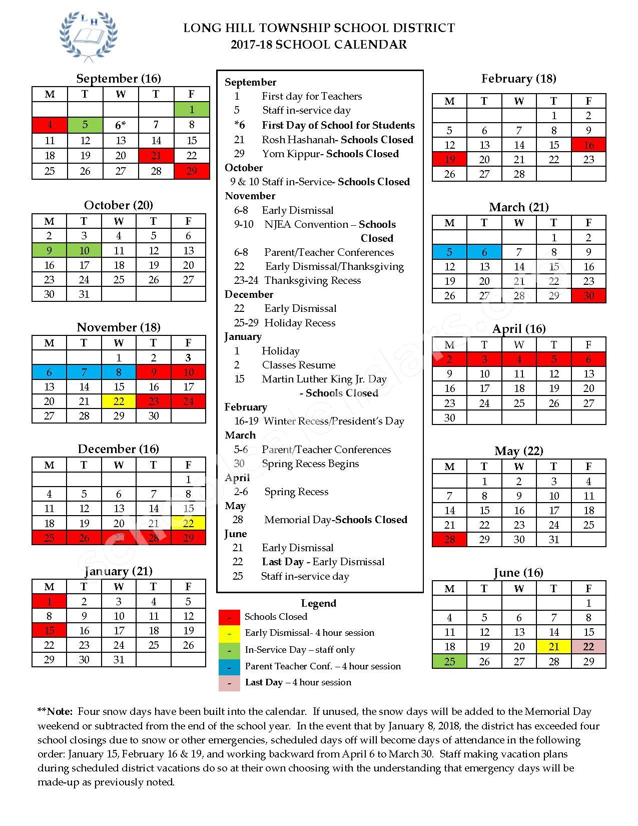 2017 - 2018 School Calendar – Long Hill Township School System – page 1