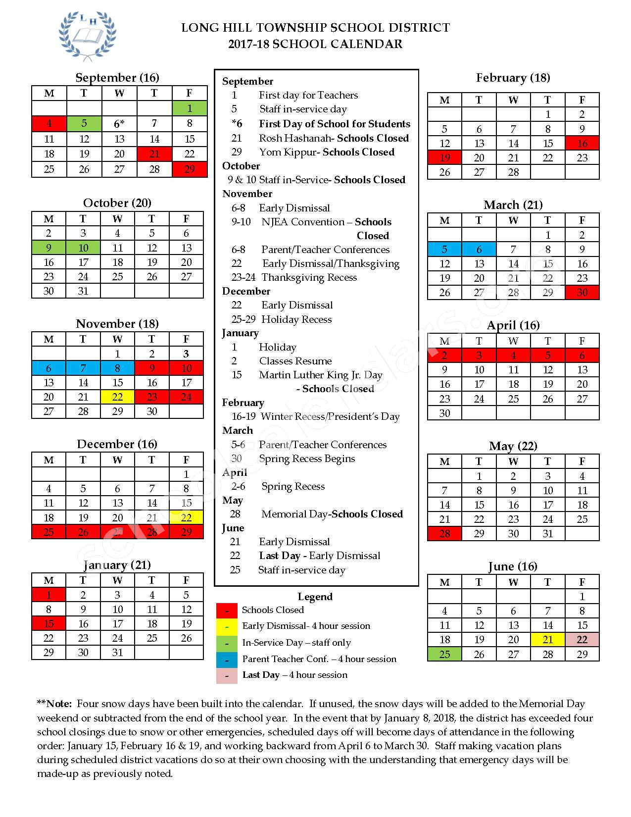 2017 - 2018 District Calendar – Long Hill Township School System – page 1