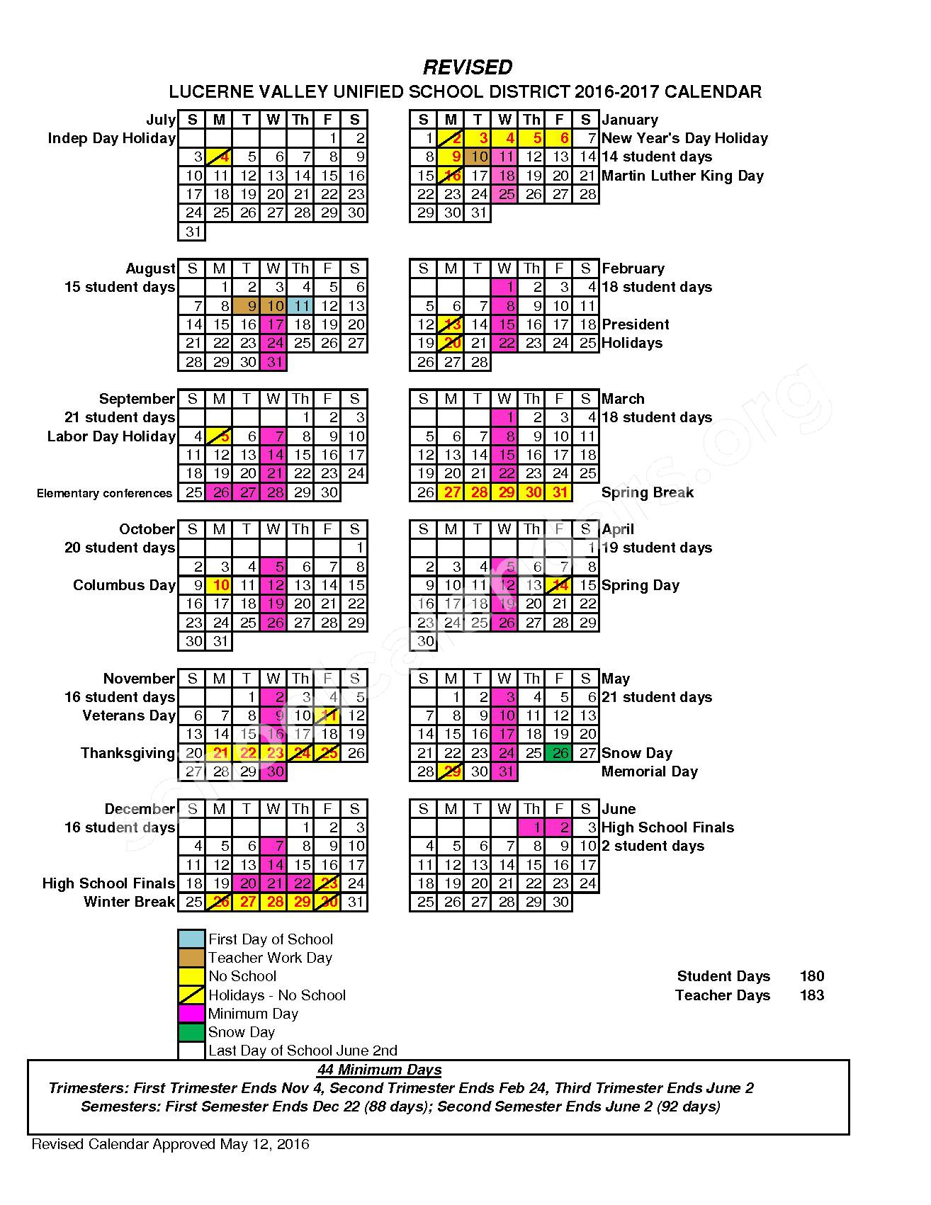 2016 - 2017 District Calendar – Lucerne Valley Unified School District – page 1
