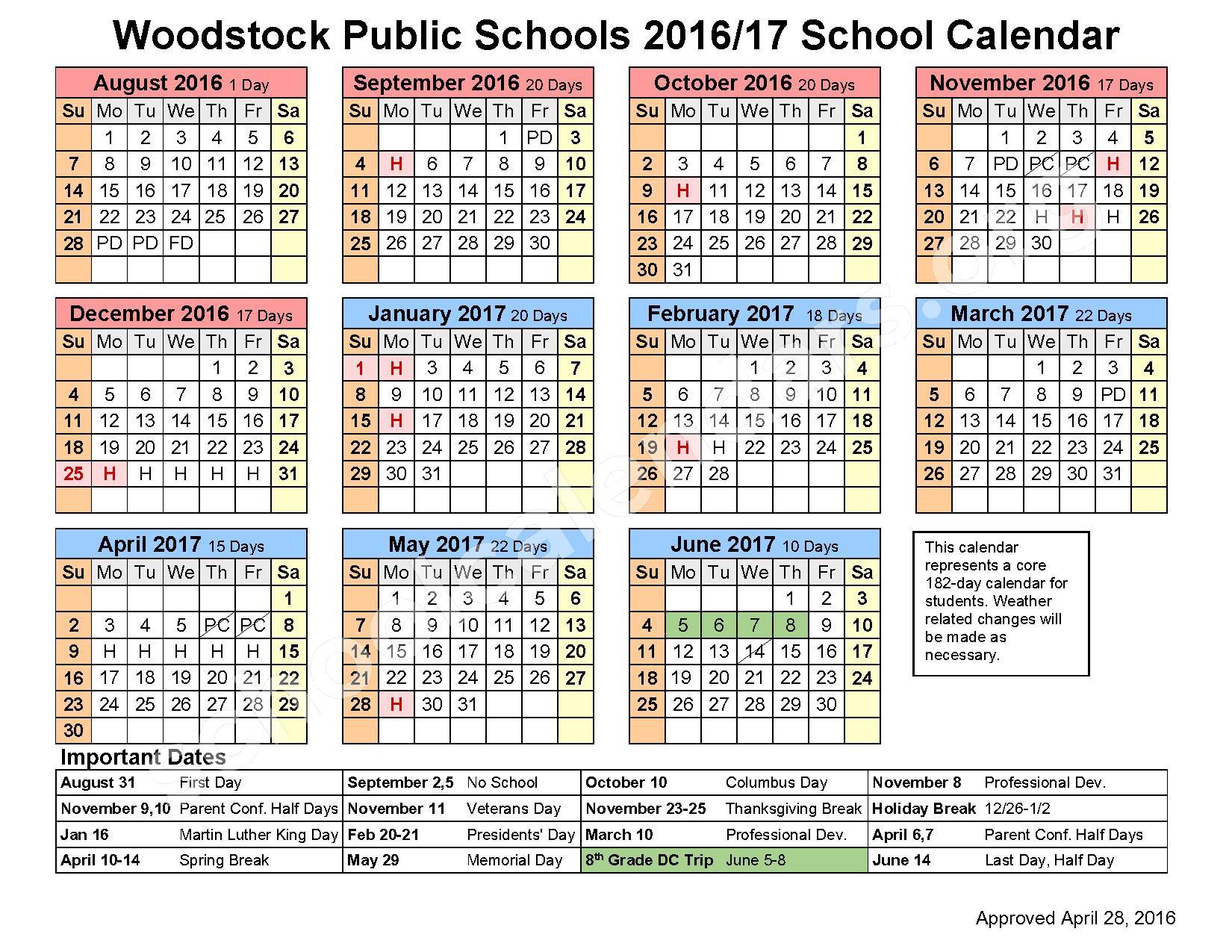 2016 - 2017 District Calendar – Woodstock Public Schools – page 1