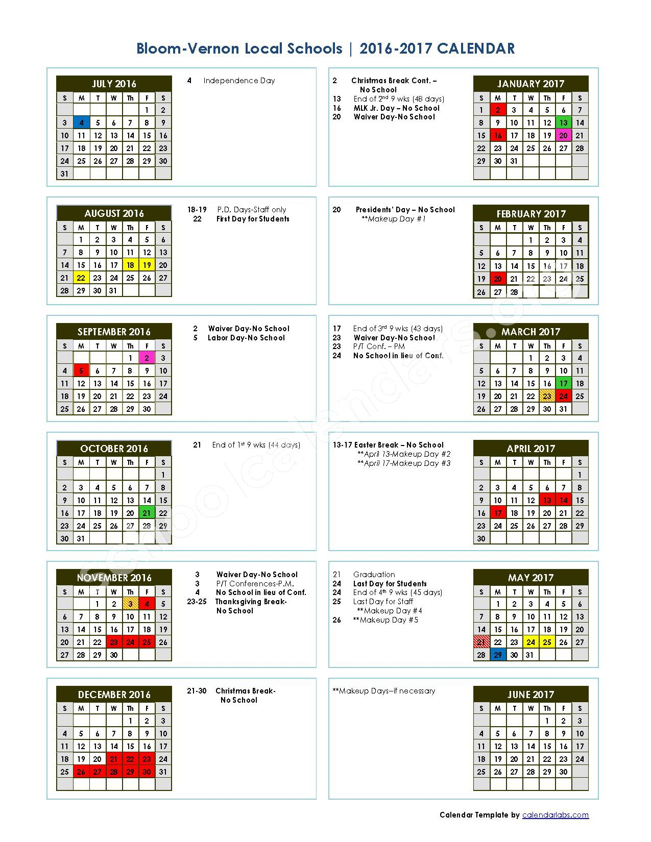 2016 - 2017 School Calendar – Bloom-Vernon Local Schools – page 1