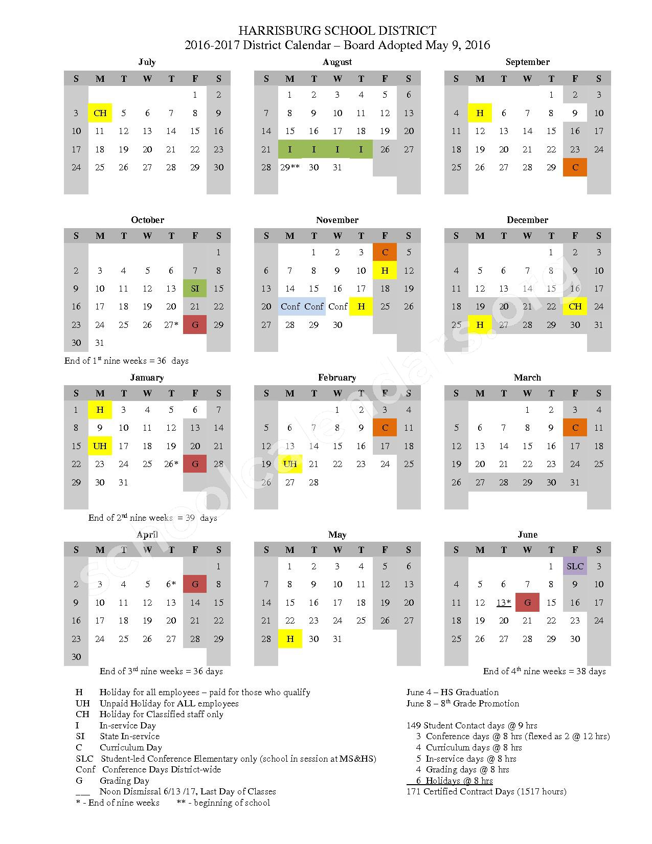 2016 - 2017 District Calendar – Harrisburg School District 7 – page 1