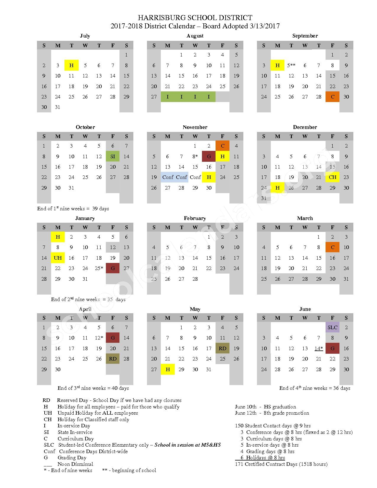 2017 - 2018 District Calendar – Harrisburg School District 7 – page 1