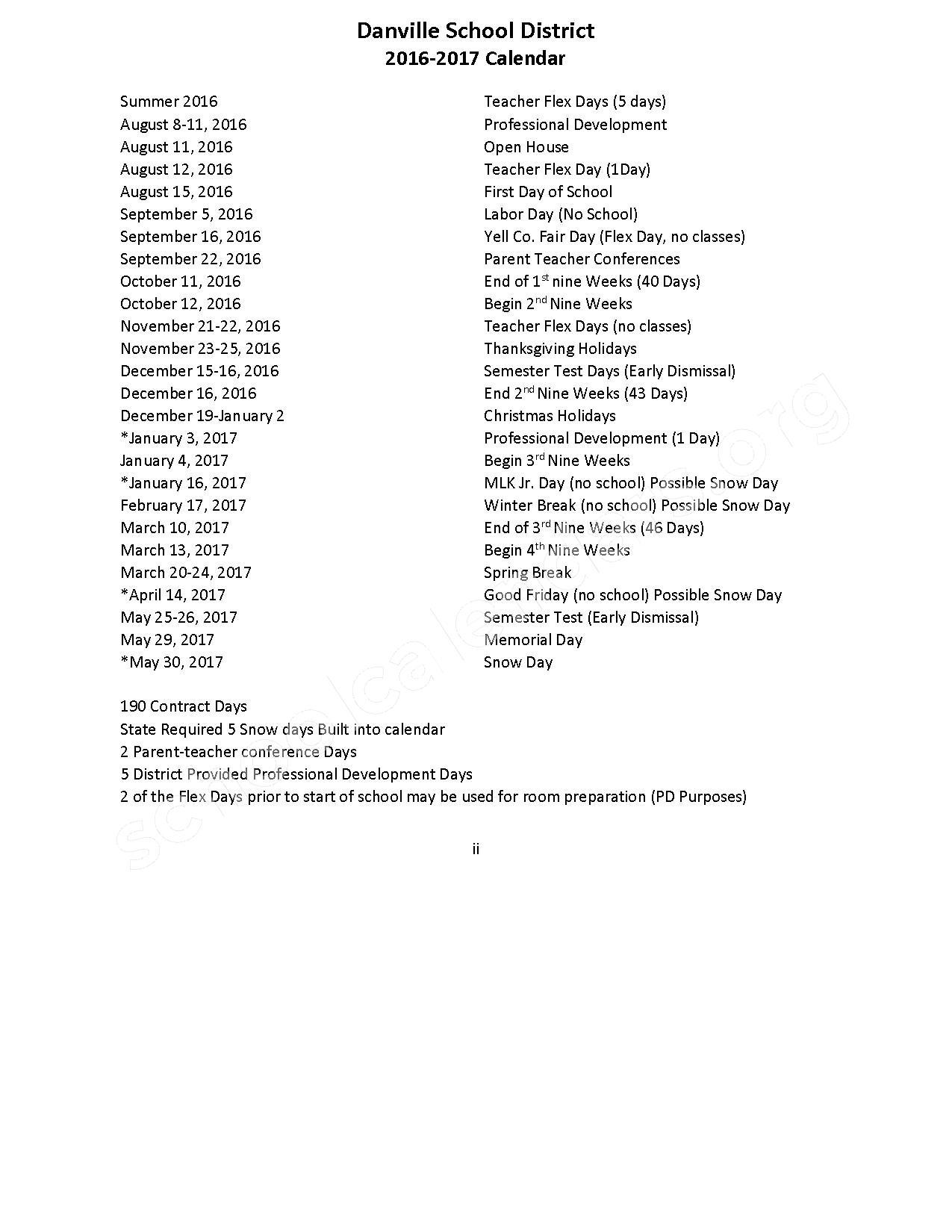 2016 - 2017 School Calendar – S.C. Tucker Elementary School – page 1
