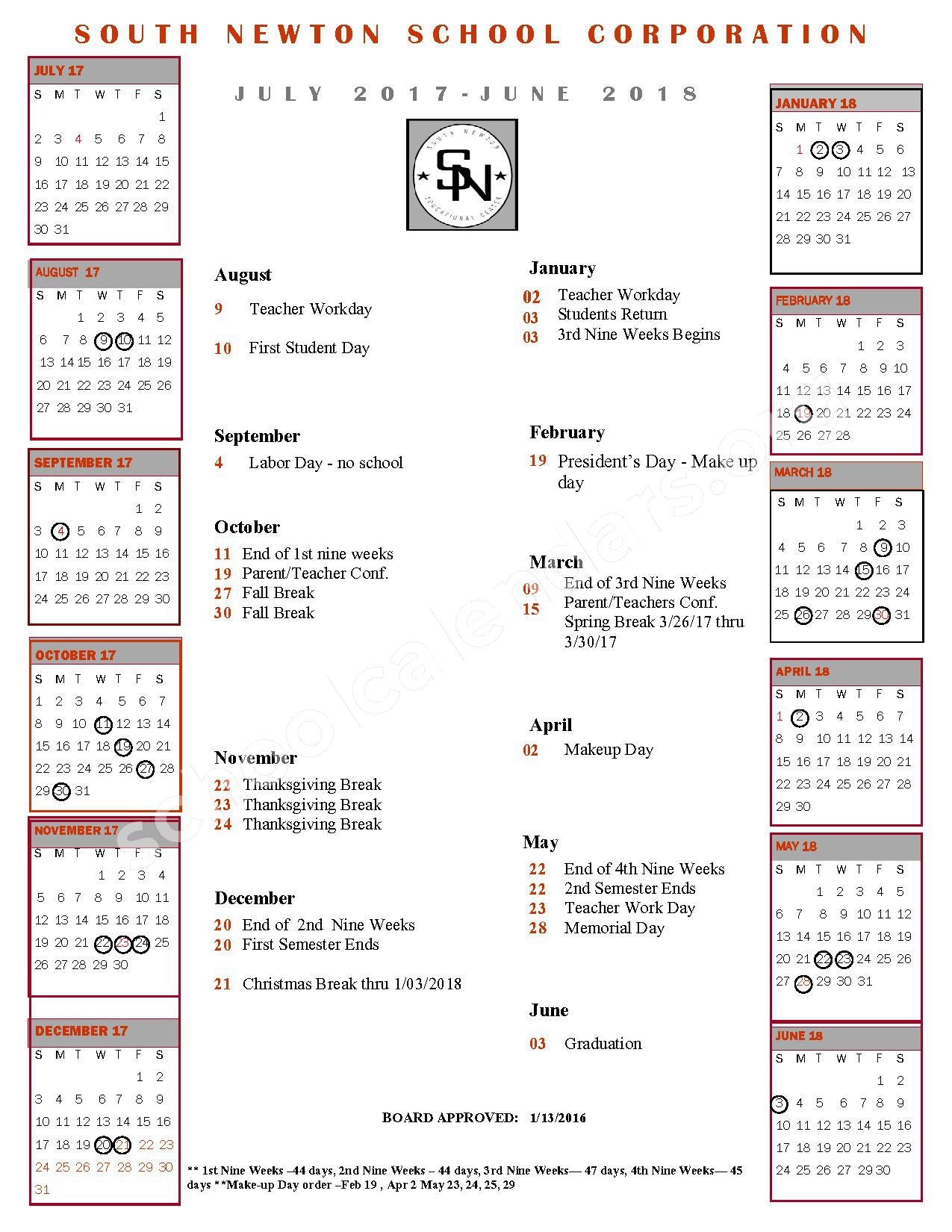 2017 - 2018 School Calendar – South Newton School Corporation – page 1