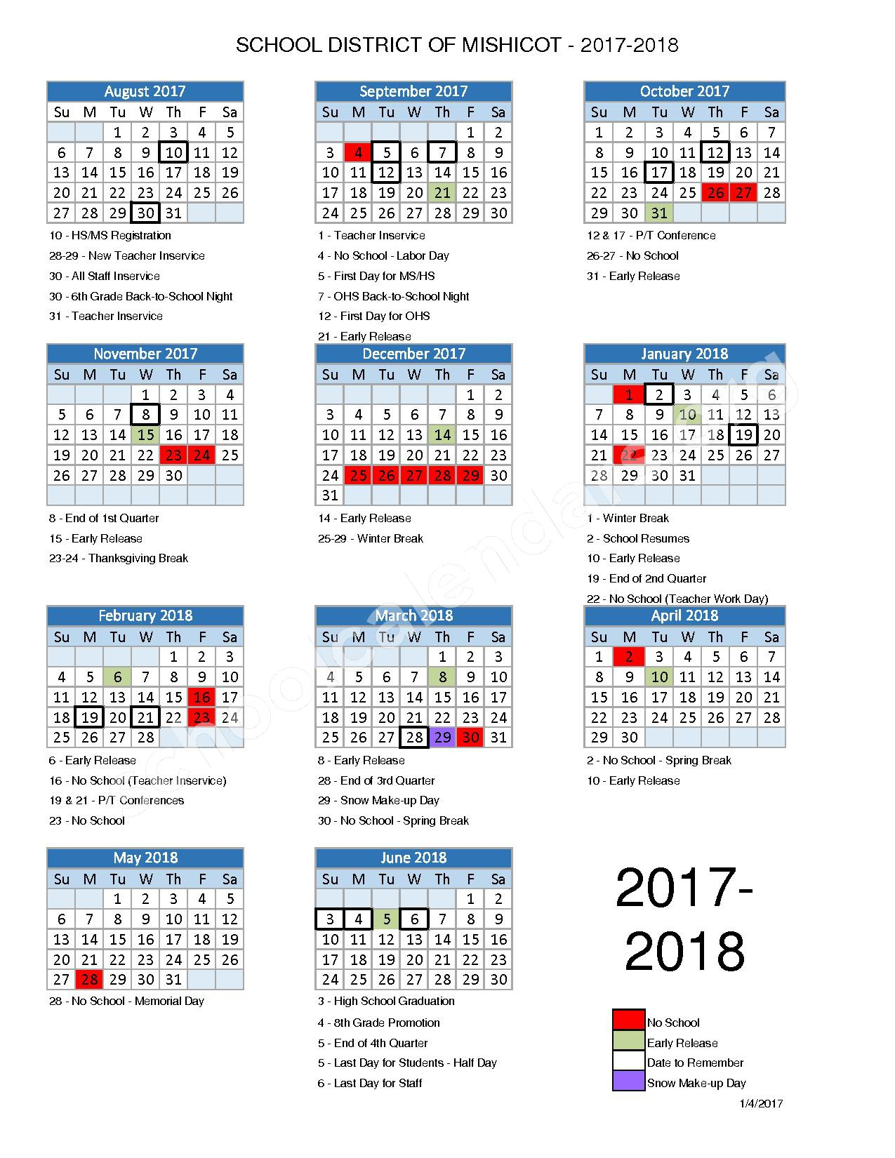 2017 - 2018 School Calendar – Mishicot School District – page 1