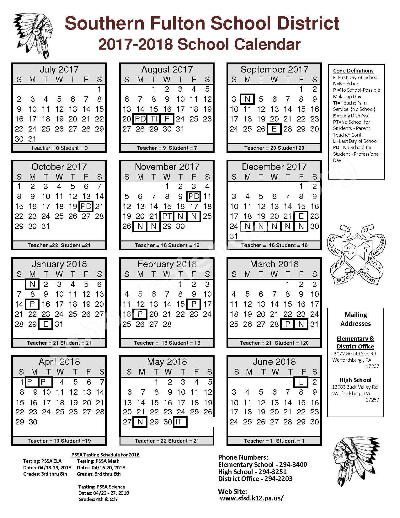 2017 - 2018 District Calendar – Southern Fulton Elementary School – page 1