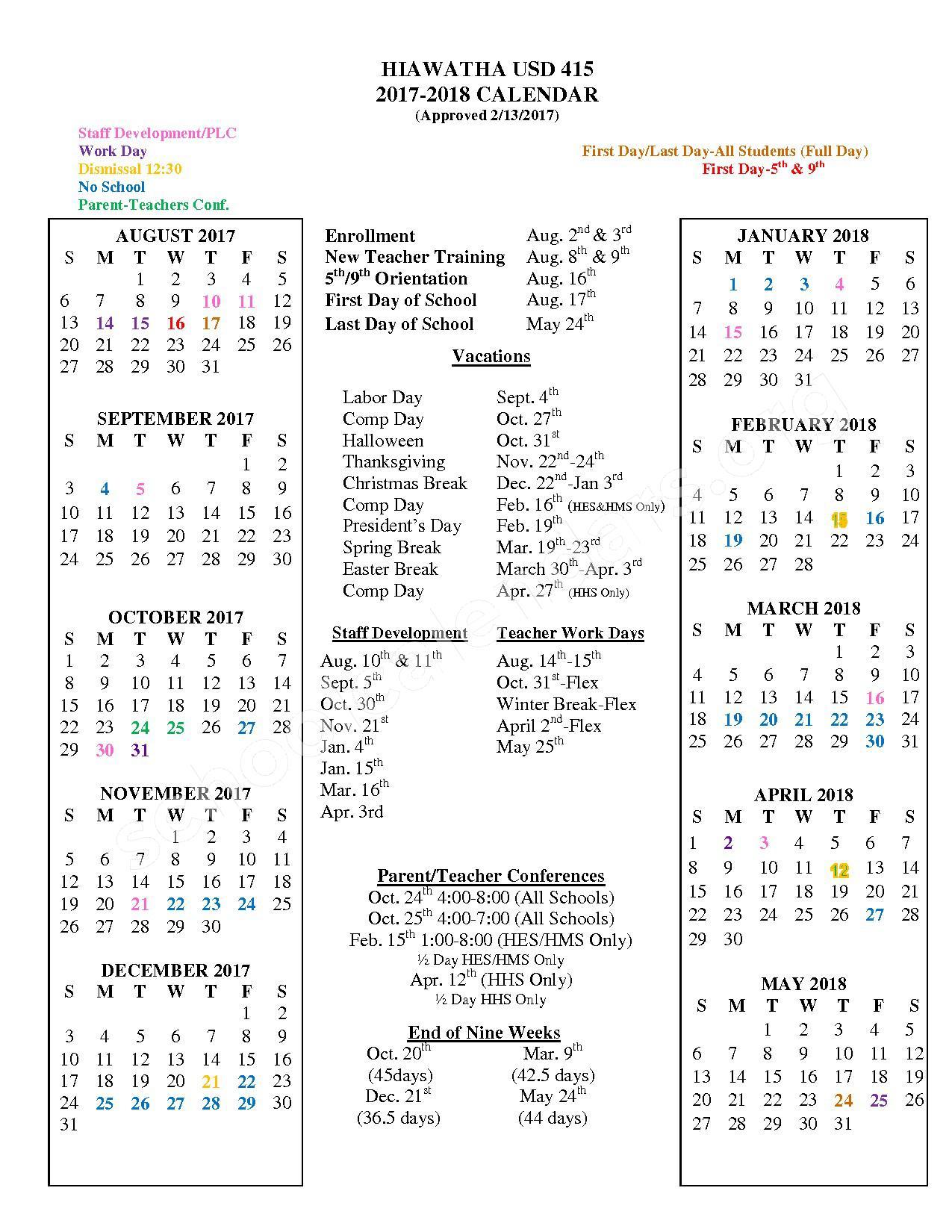2017 - 2018 School Calendar – Hiawatha Unified School District 415 – page 1