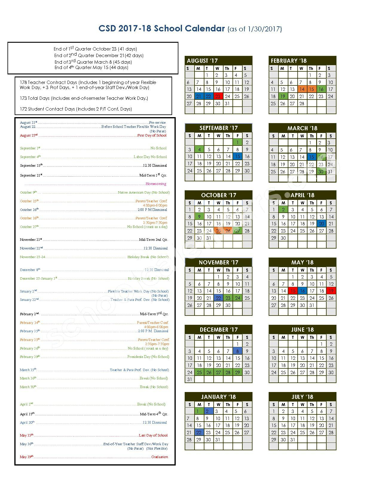 2017 - 2018 District Calendar – Chamberlain Elementary - 03 – page 1