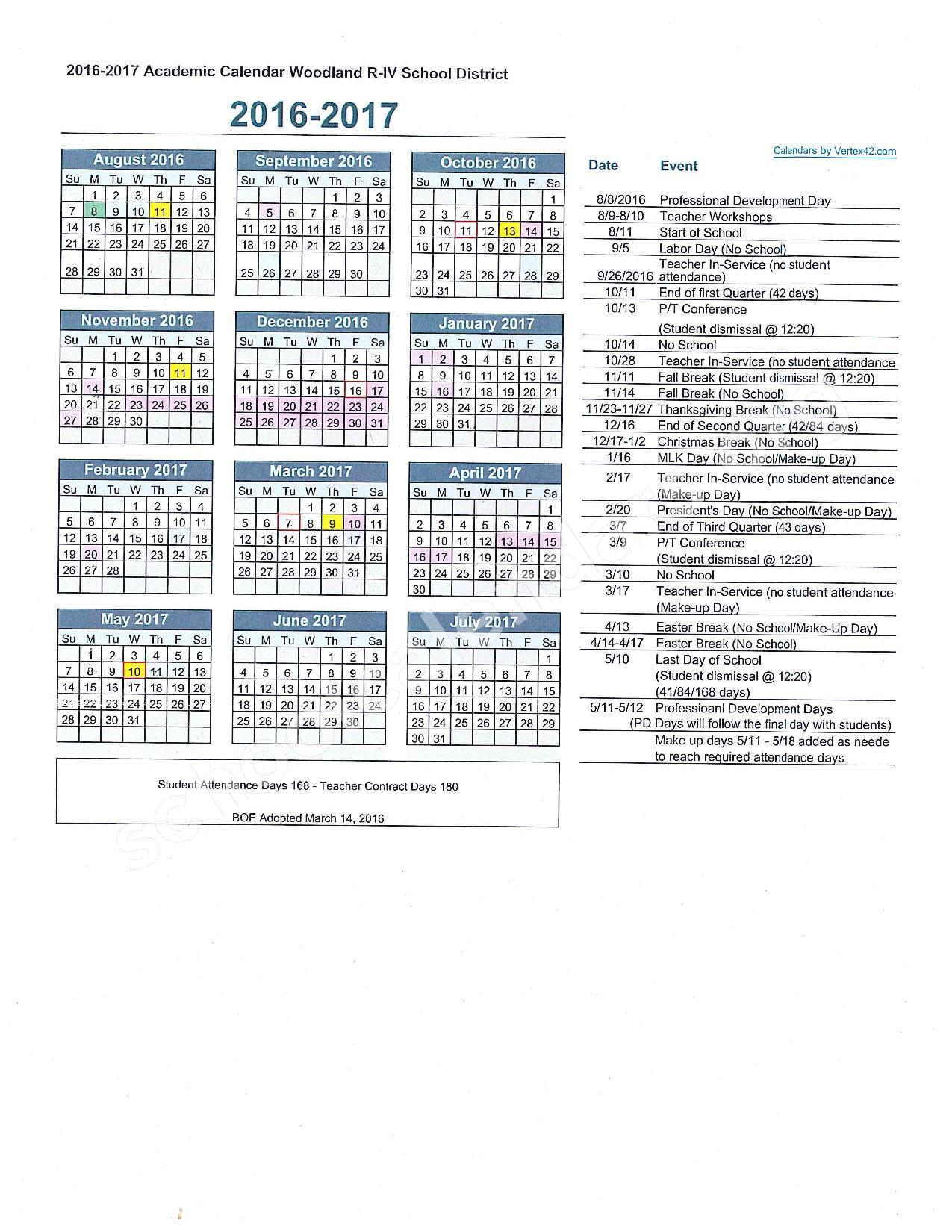 2016 - 2017 School Calendar – Woodland R-IV School District – page 1