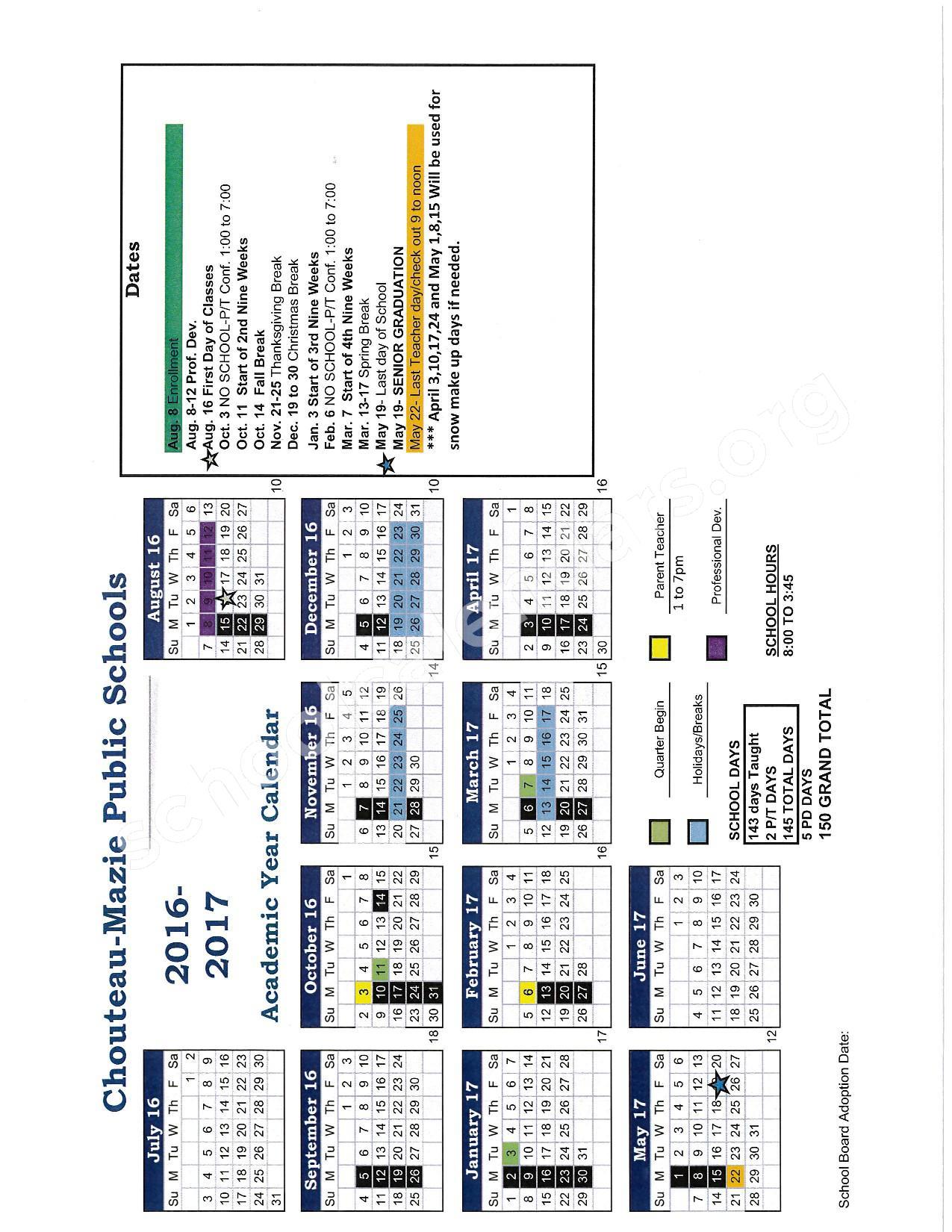 2016 - 2017 School Calendar – Chouteau-Mazie Public Schools – page 1
