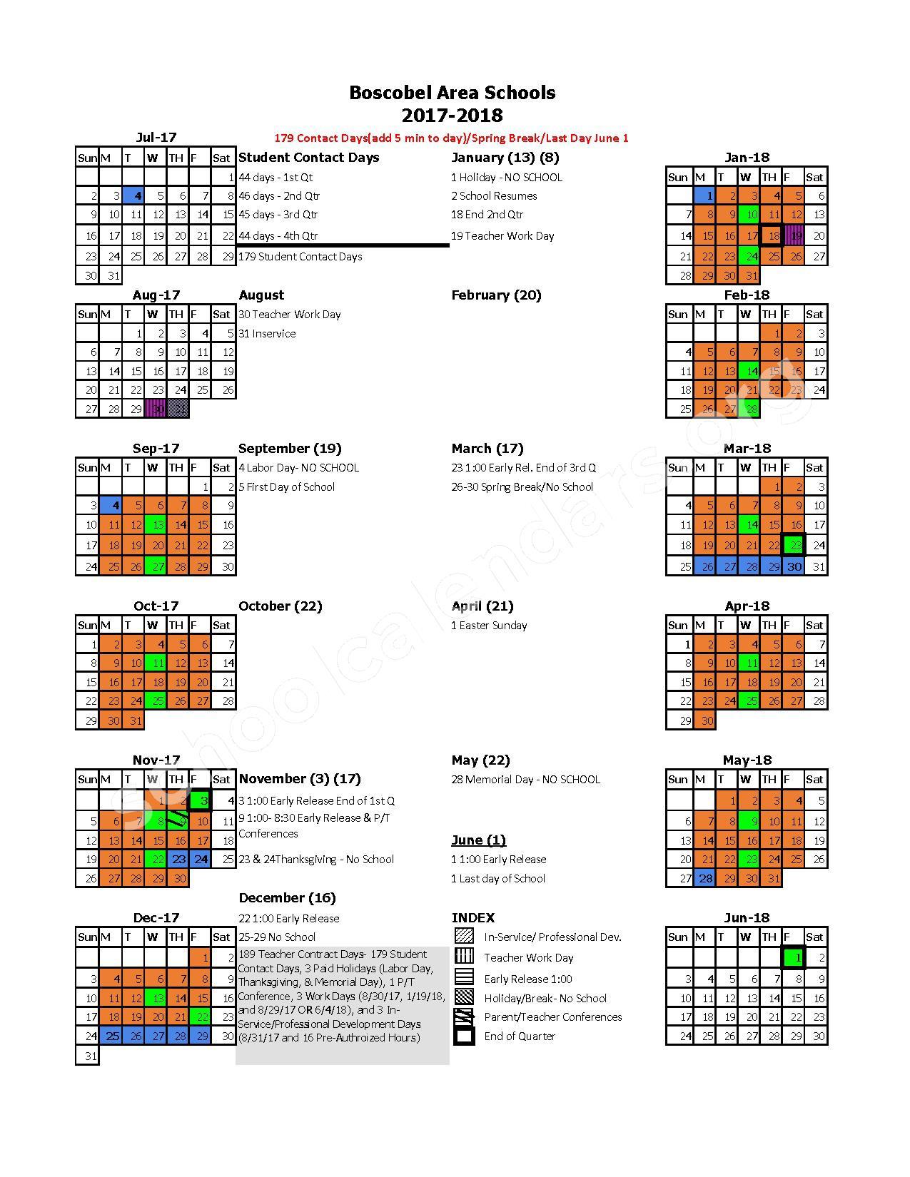 2017 - 2018 District Calendar – Boscobel Area School District – page 1