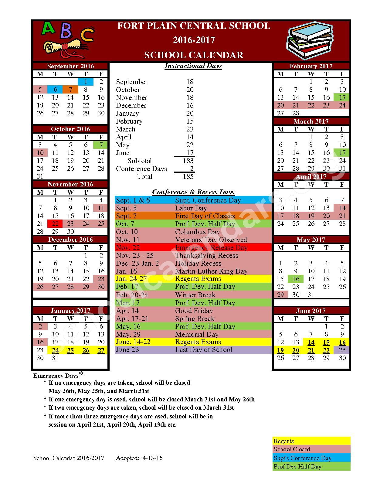 2016 - 2017 District Calendar – Fort Plain Central School District – page 1