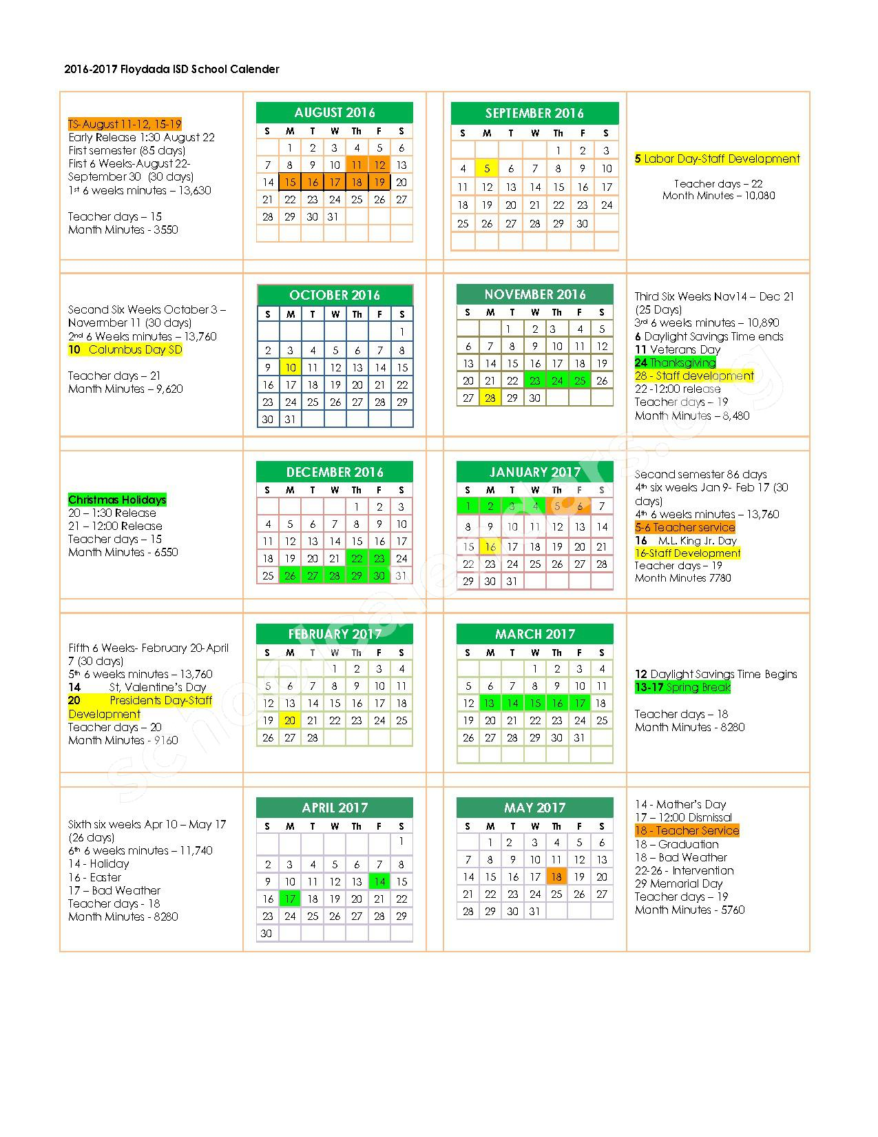 2016 - 2017 School Calendar – Floydada Independent School District – page 1