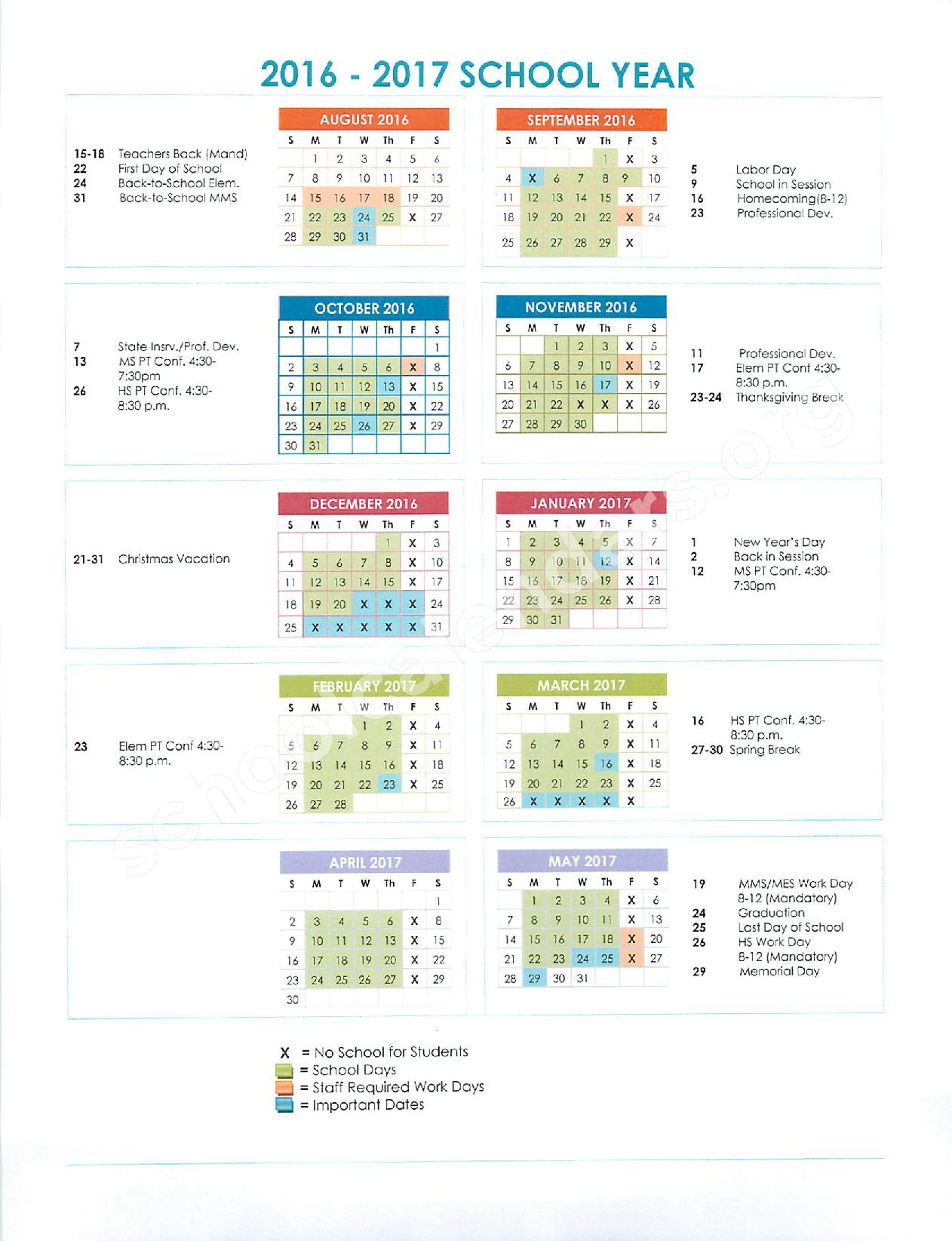 2016 - 2017 School Calendar – Oneida County School District 351 – page 1