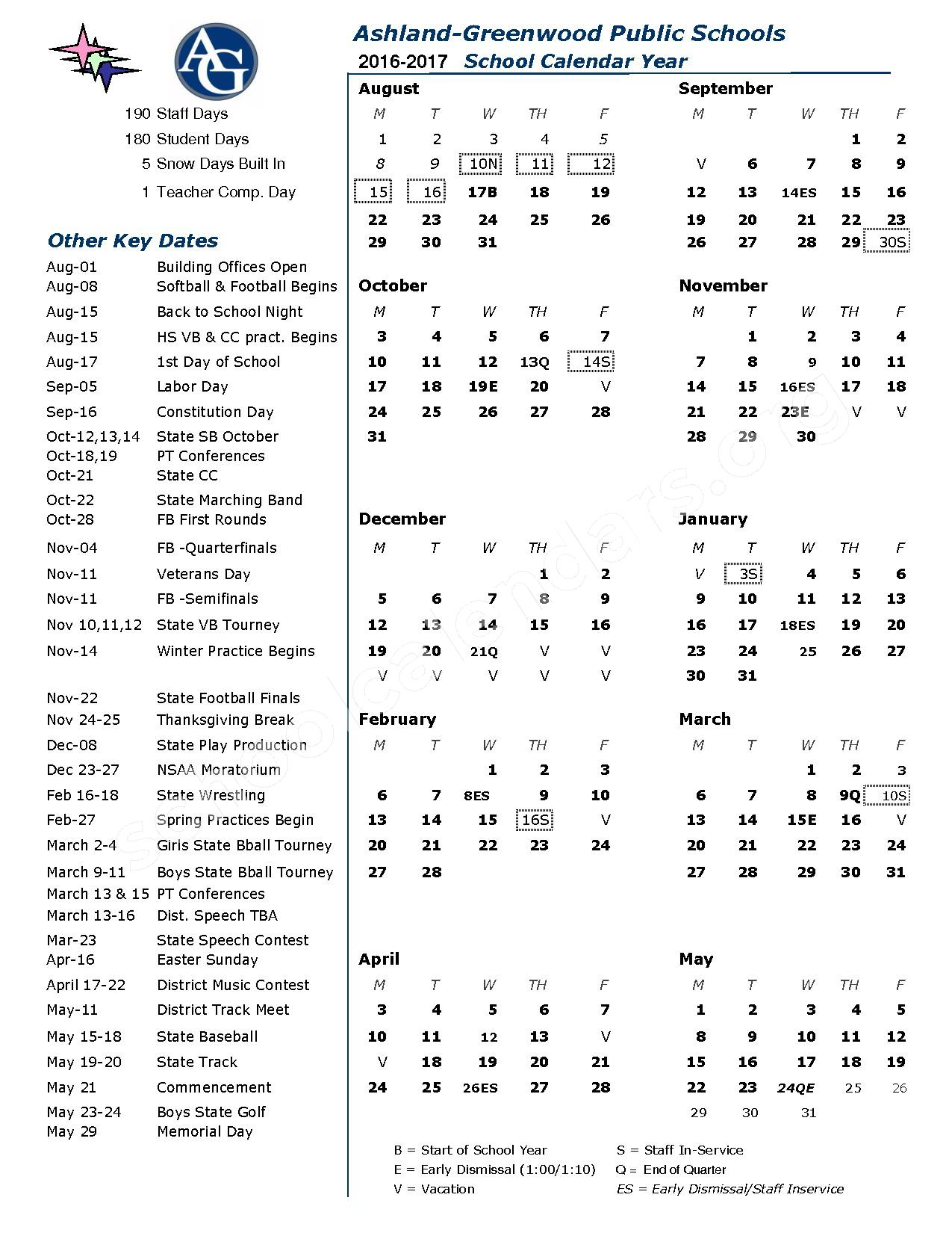 2016 - 2017 District Calendar – Ashland-Greenwood Public Schools – page 1