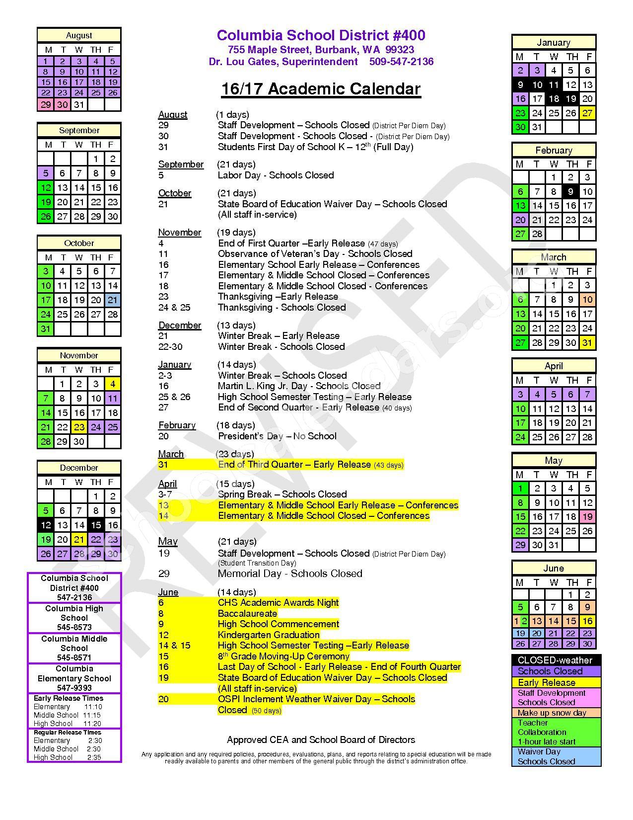 2016 - 2017 Academic Calendar – Columbia (Walla Walla) School District – page 1