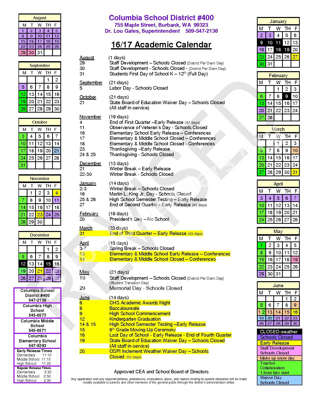 2016 - 2017 Academic Calendar page 1