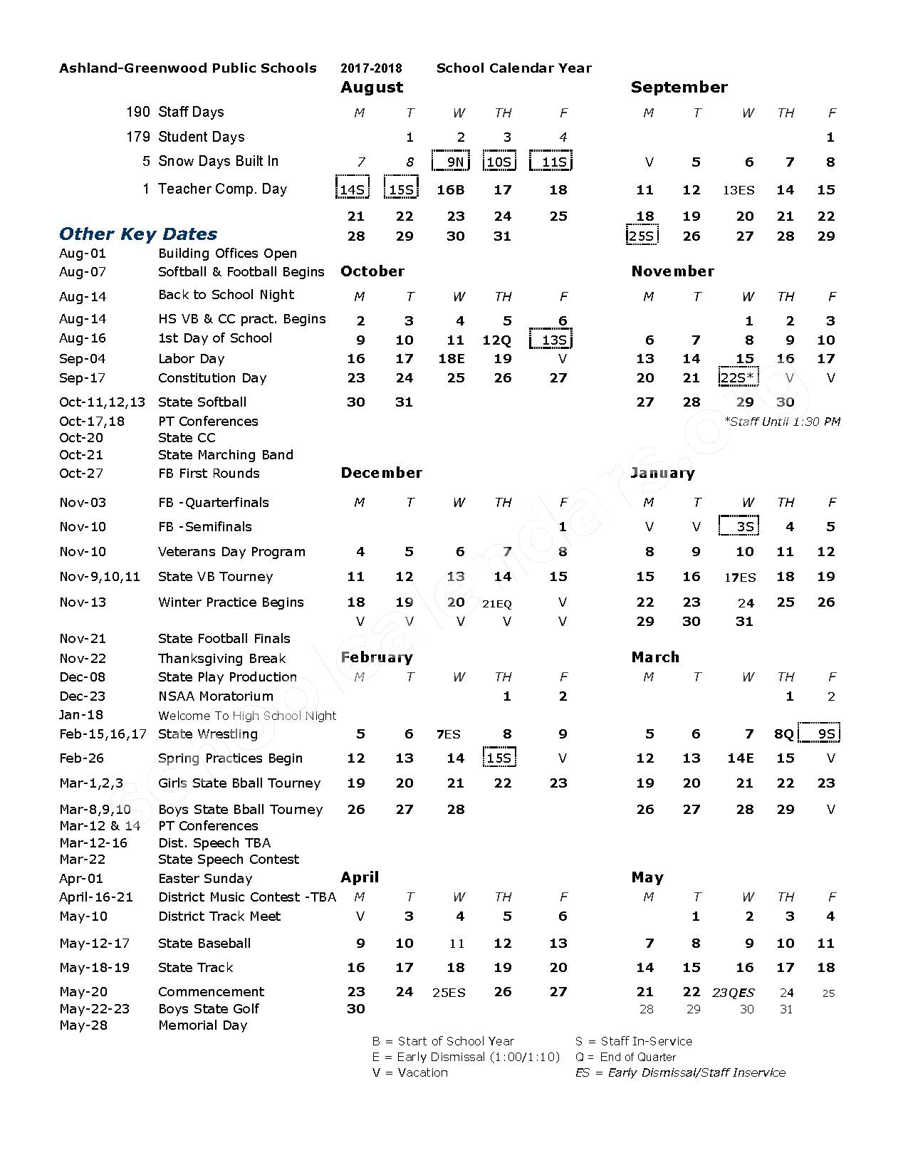 2017 - 2018 District Calendar – Ashland-Greenwood High School – page 1