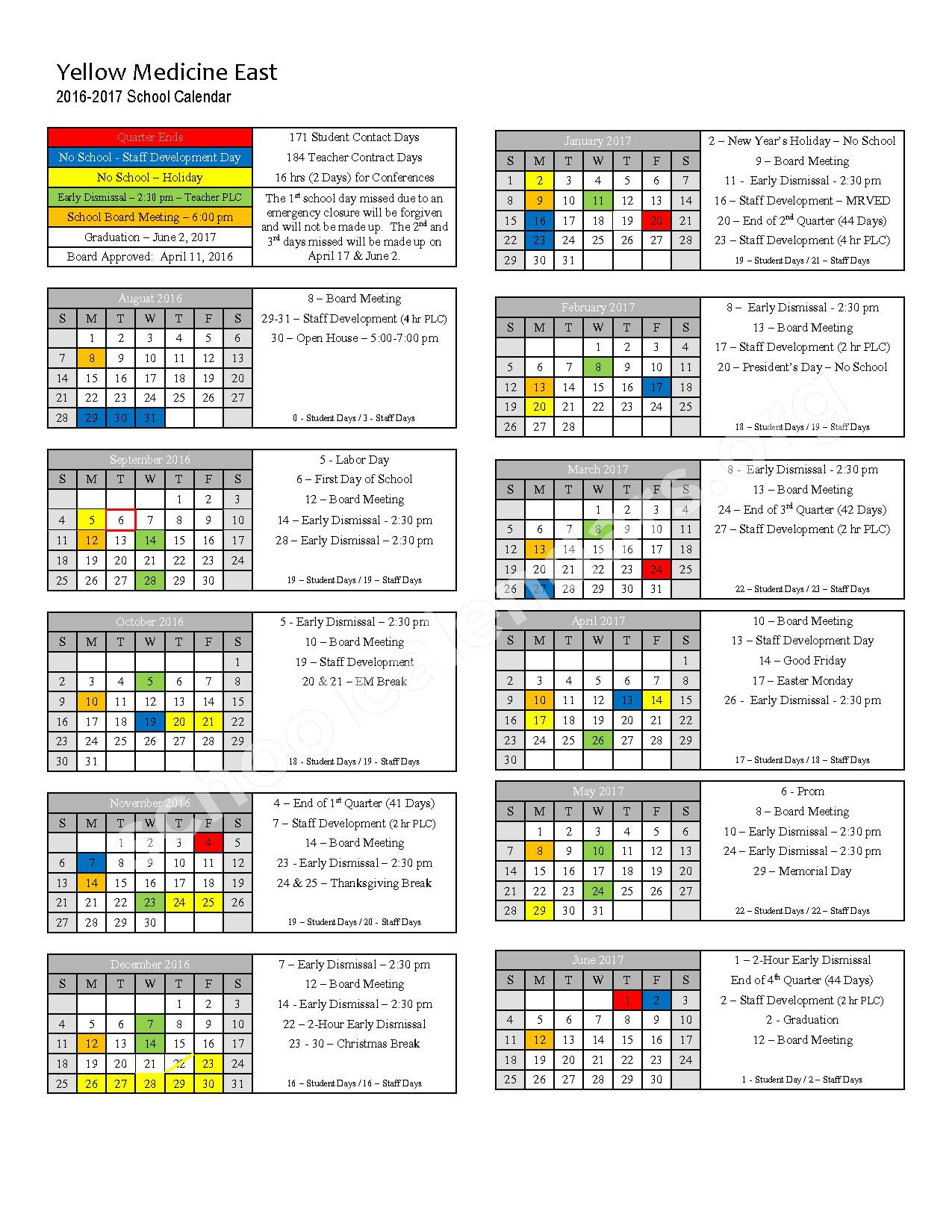 2016 - 2017 School Calendar – Yellow Medicine East – page 1