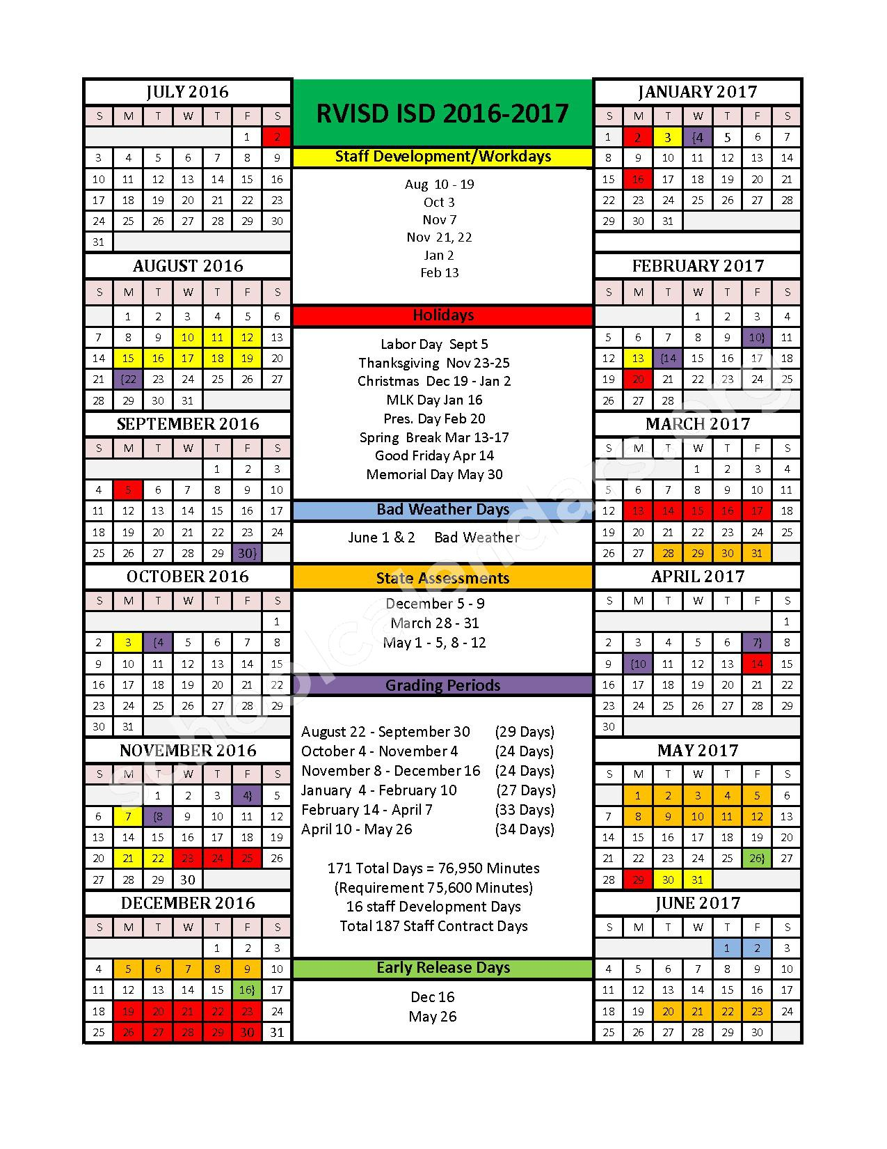 2016 - 2017 District Calendar – Rio Vista Independent School District – page 1