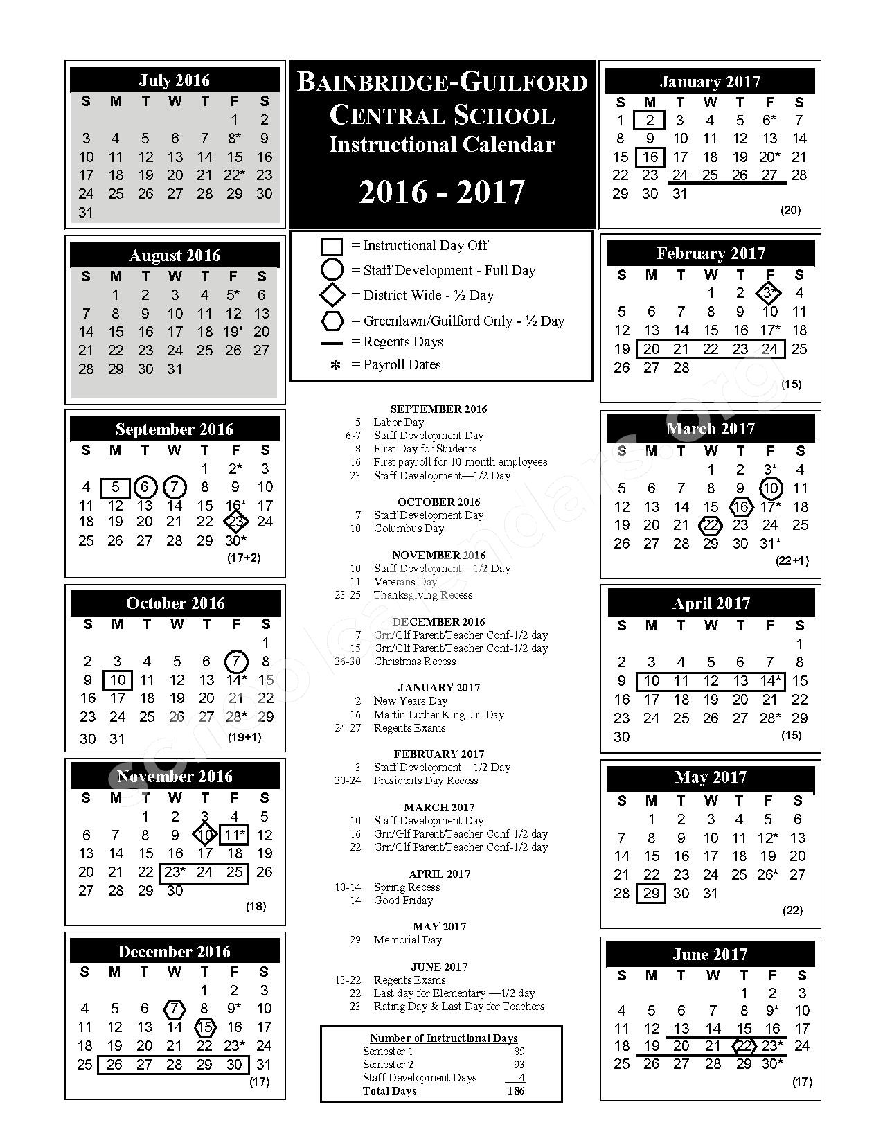 2016 - 2017 BGCSD Instructional Calendar – Bainbridge-Guilford High School – page 1