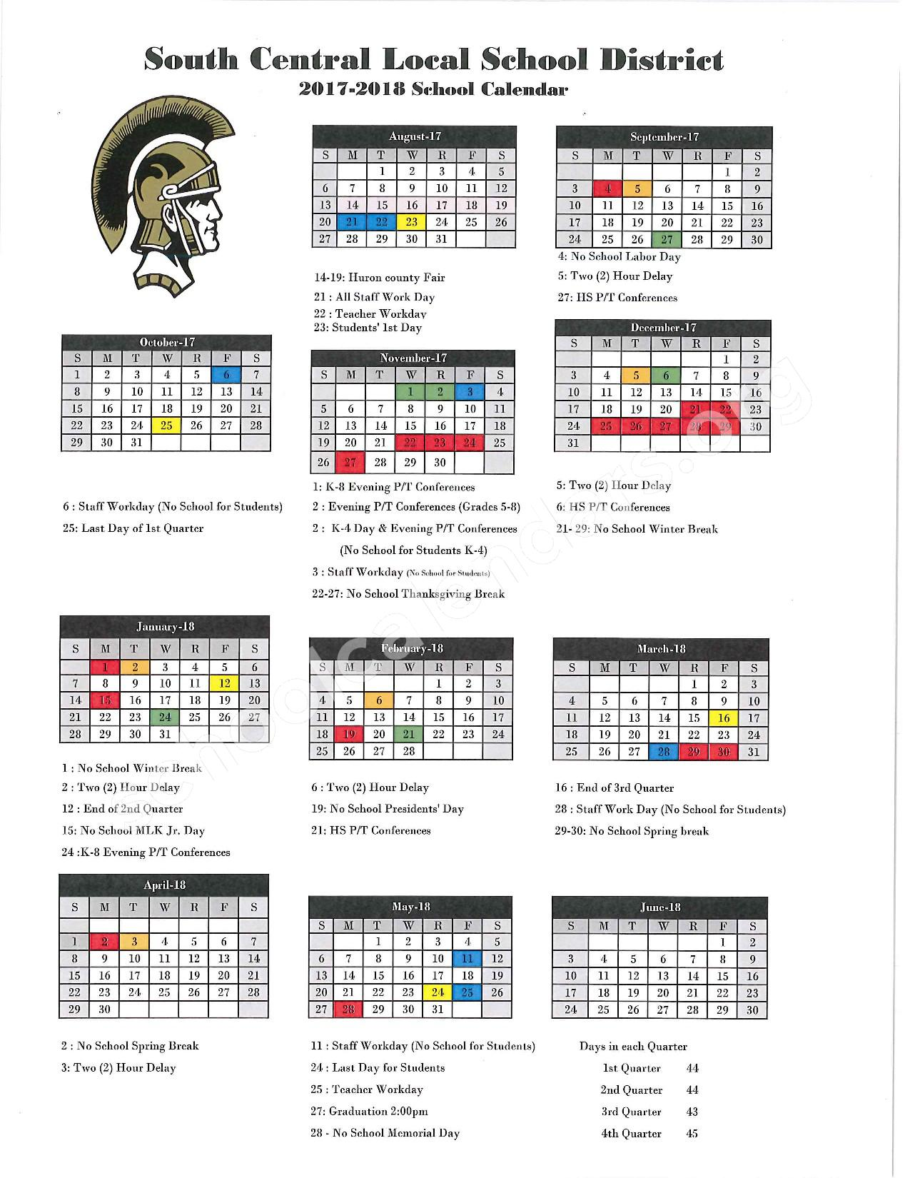 2017 - 2018 Calendar – South Central Junior High School – page 1