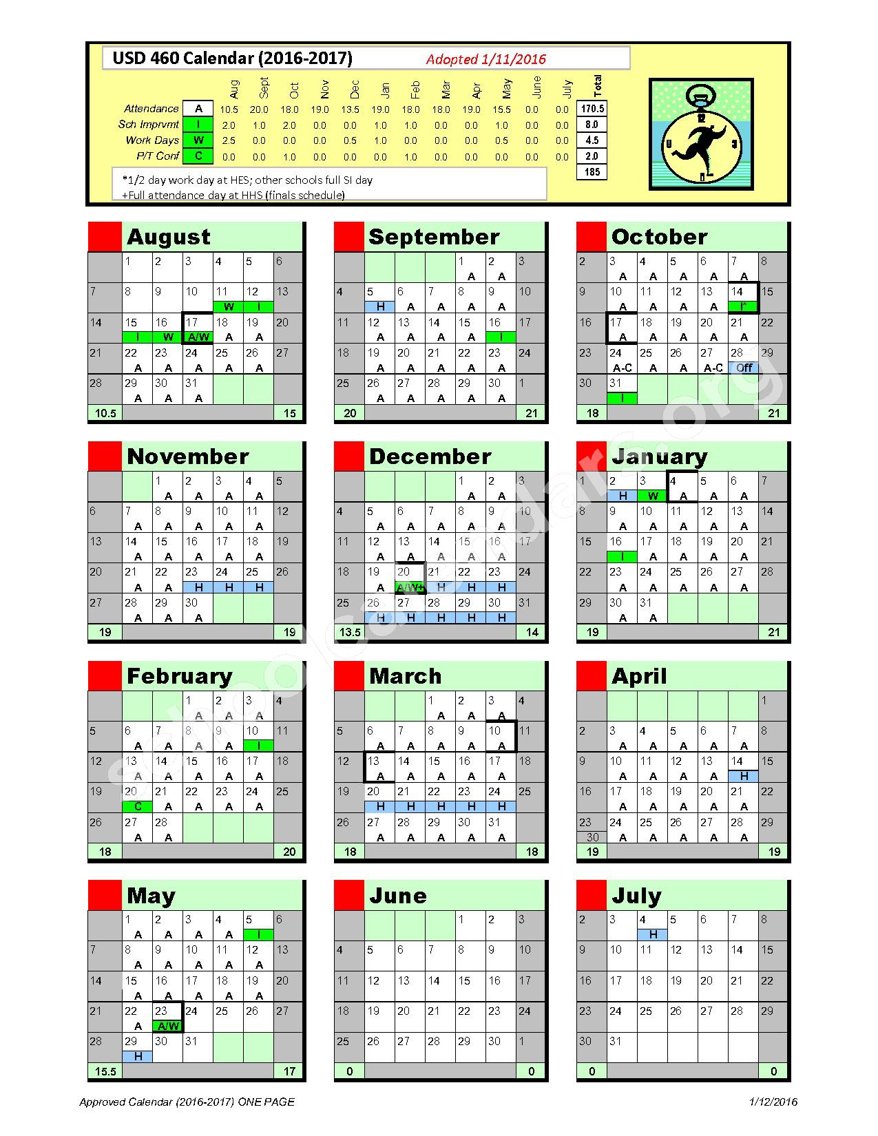 2016 - 2017 At A Glance Calendar – Hesston Unified School District 460 – page 1