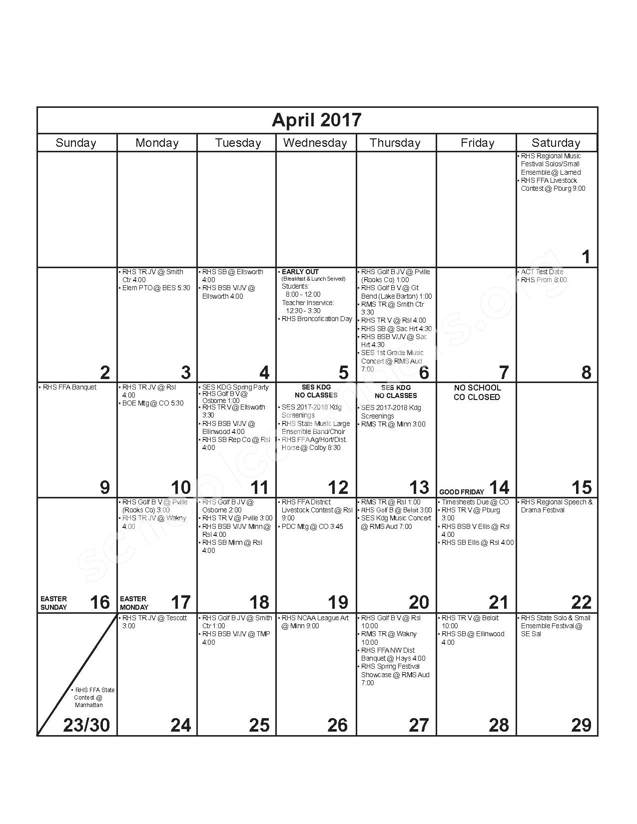 2016 - 2017 District Calendar – Russell County Schools USD 407 – page 10