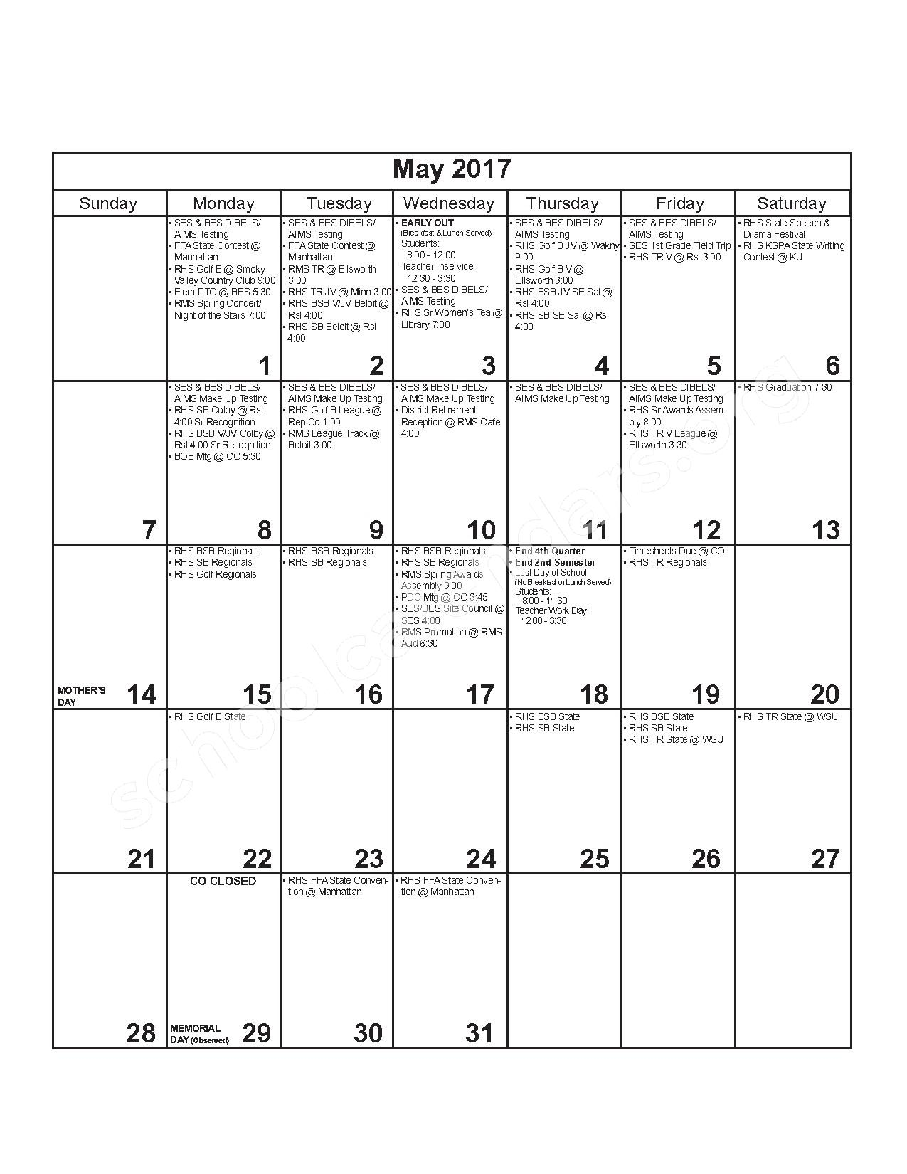2016 - 2017 District Calendar – Russell County Schools USD 407 – page 11