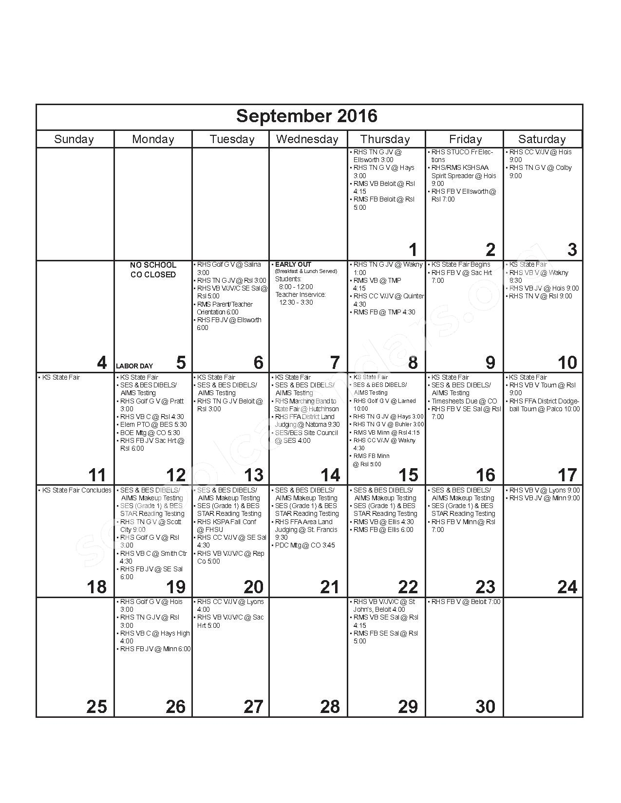 2016 - 2017 District Calendar – Russell County Schools USD 407 – page 3
