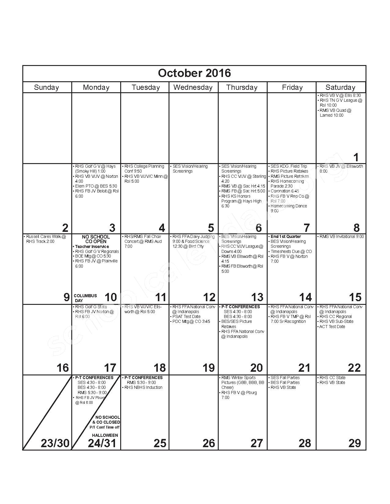 2016 - 2017 District Calendar – Russell County Schools USD 407 – page 4