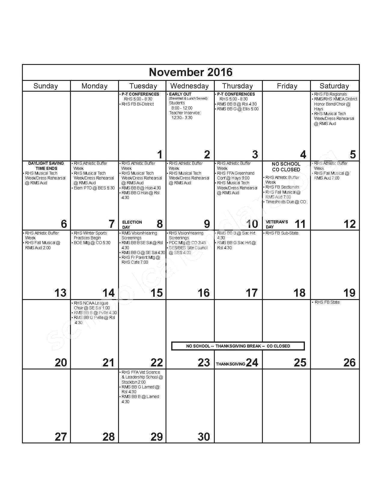 2016 - 2017 District Calendar – Russell County Schools USD 407 – page 5