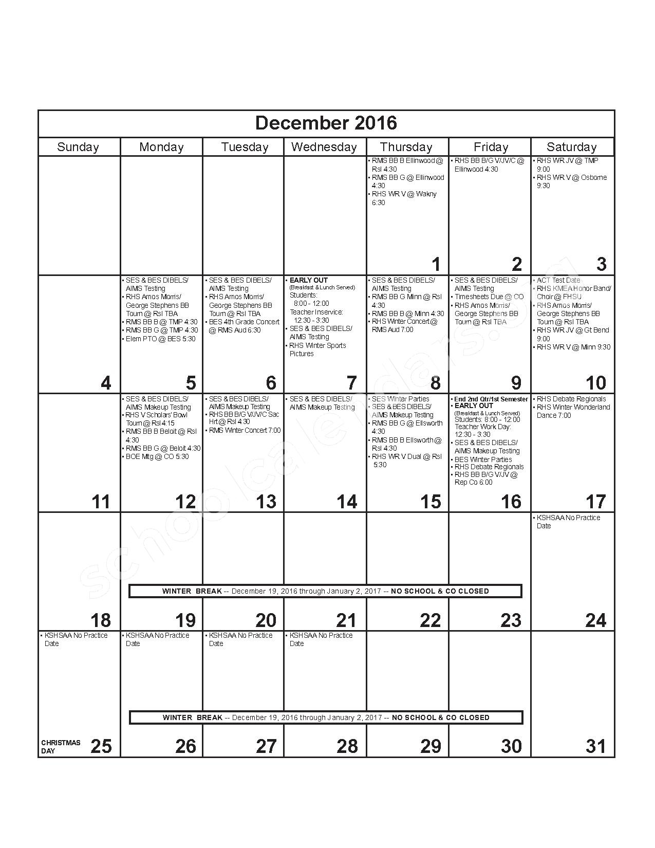 2016 - 2017 District Calendar – Russell County Schools USD 407 – page 6