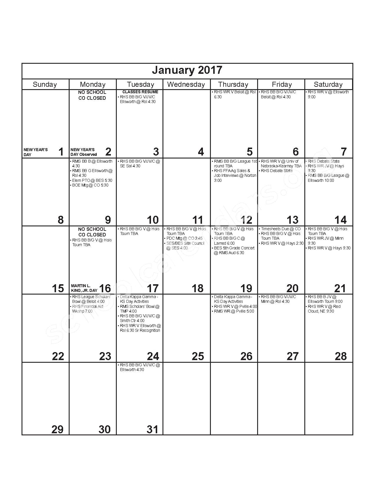 2016 - 2017 District Calendar – Russell County Schools USD 407 – page 7