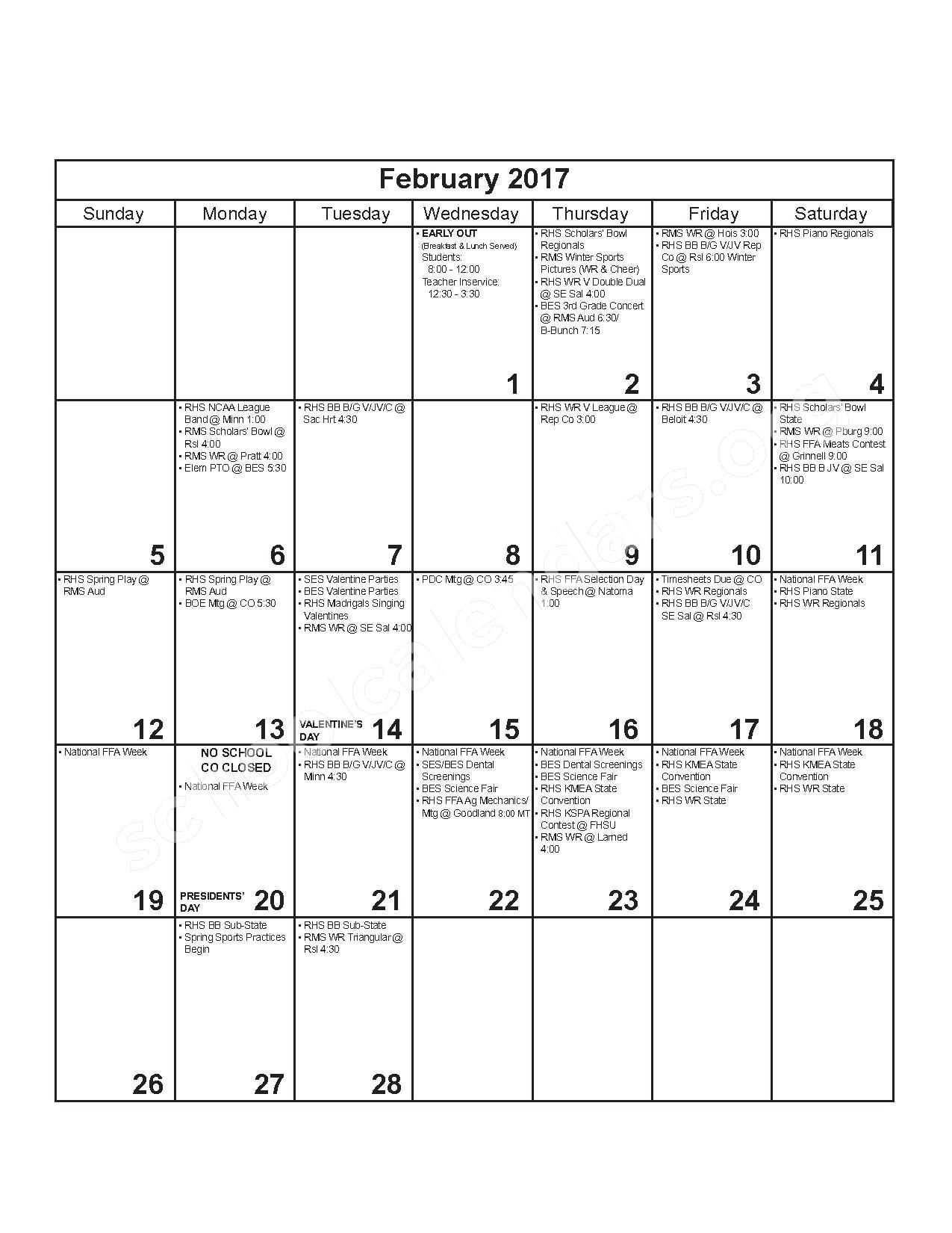 2016 - 2017 District Calendar – Russell County Schools USD 407 – page 8
