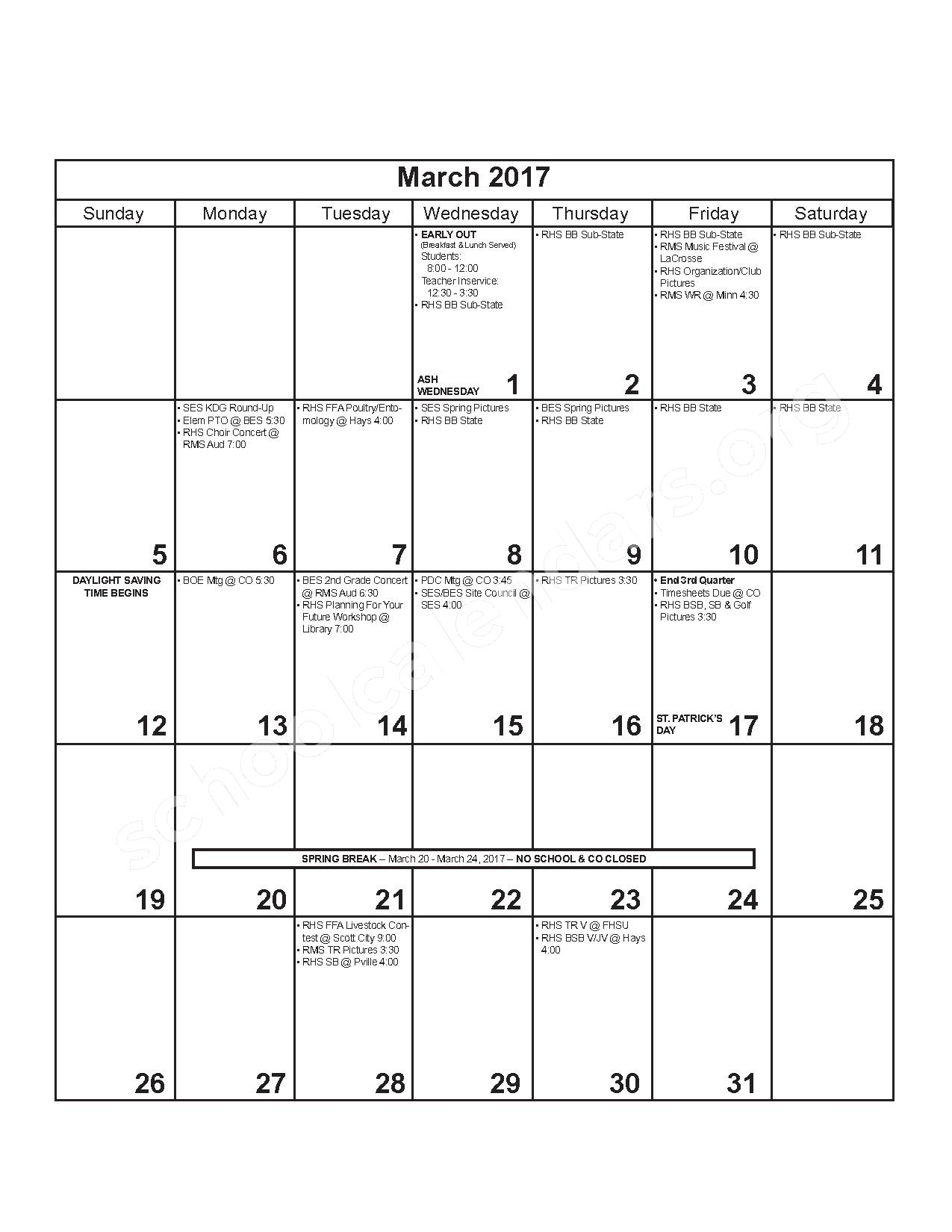 2016 - 2017 District Calendar – Russell County Schools USD 407 – page 9